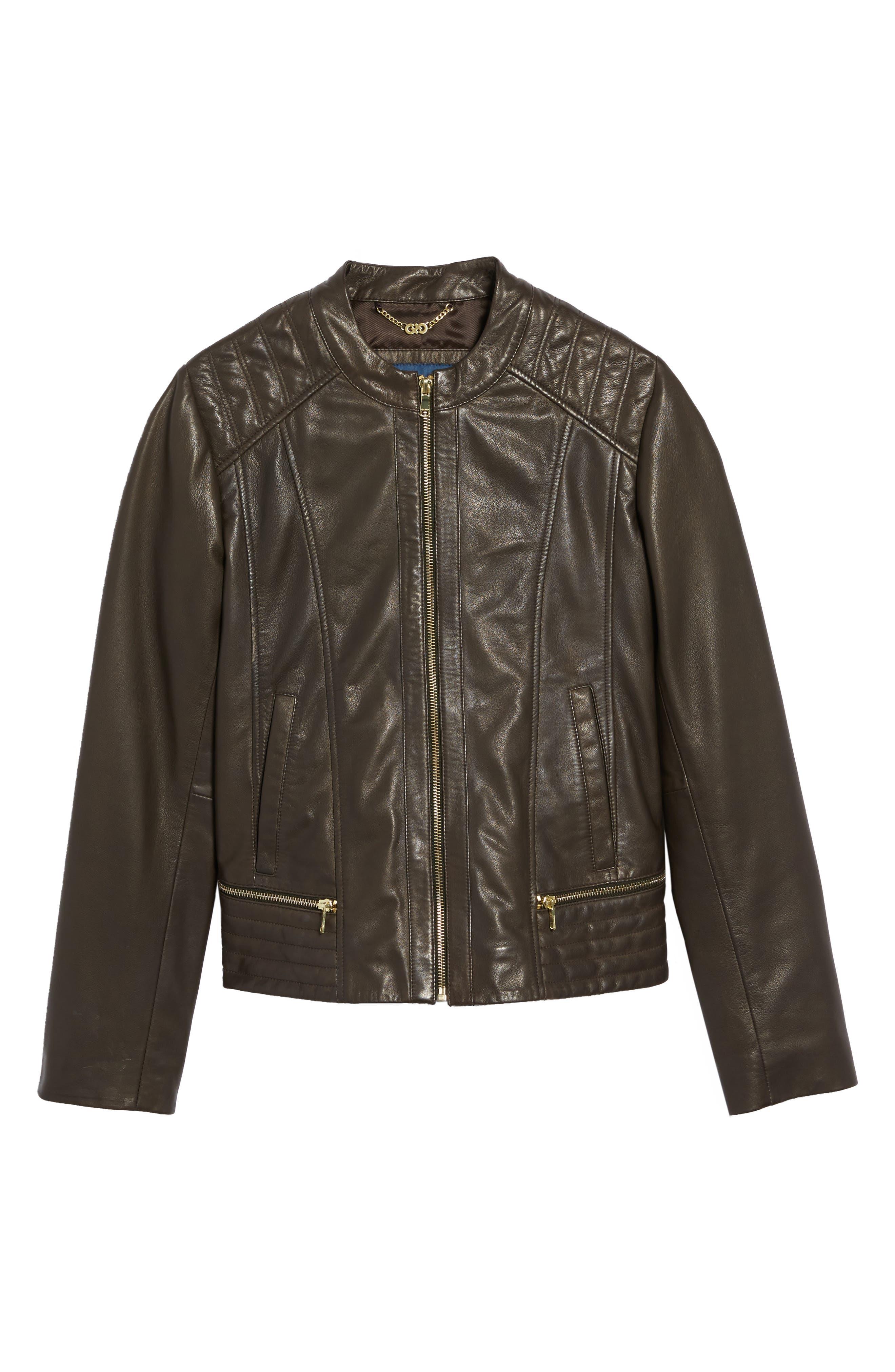 Leather Moto Jacket,                             Alternate thumbnail 5, color,                             055