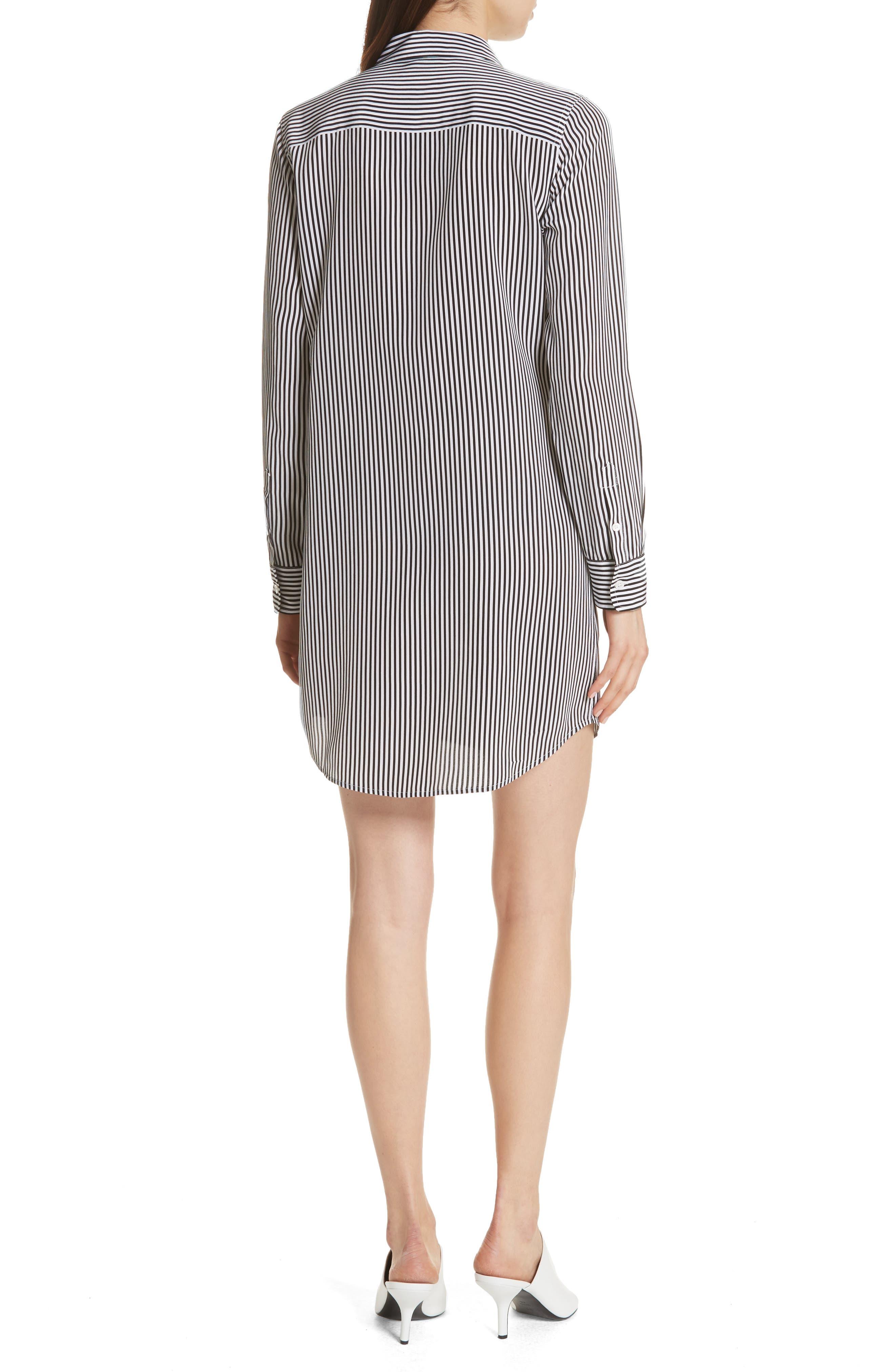 Brett Stripe Silk Shirtdress,                             Alternate thumbnail 2, color,                             002