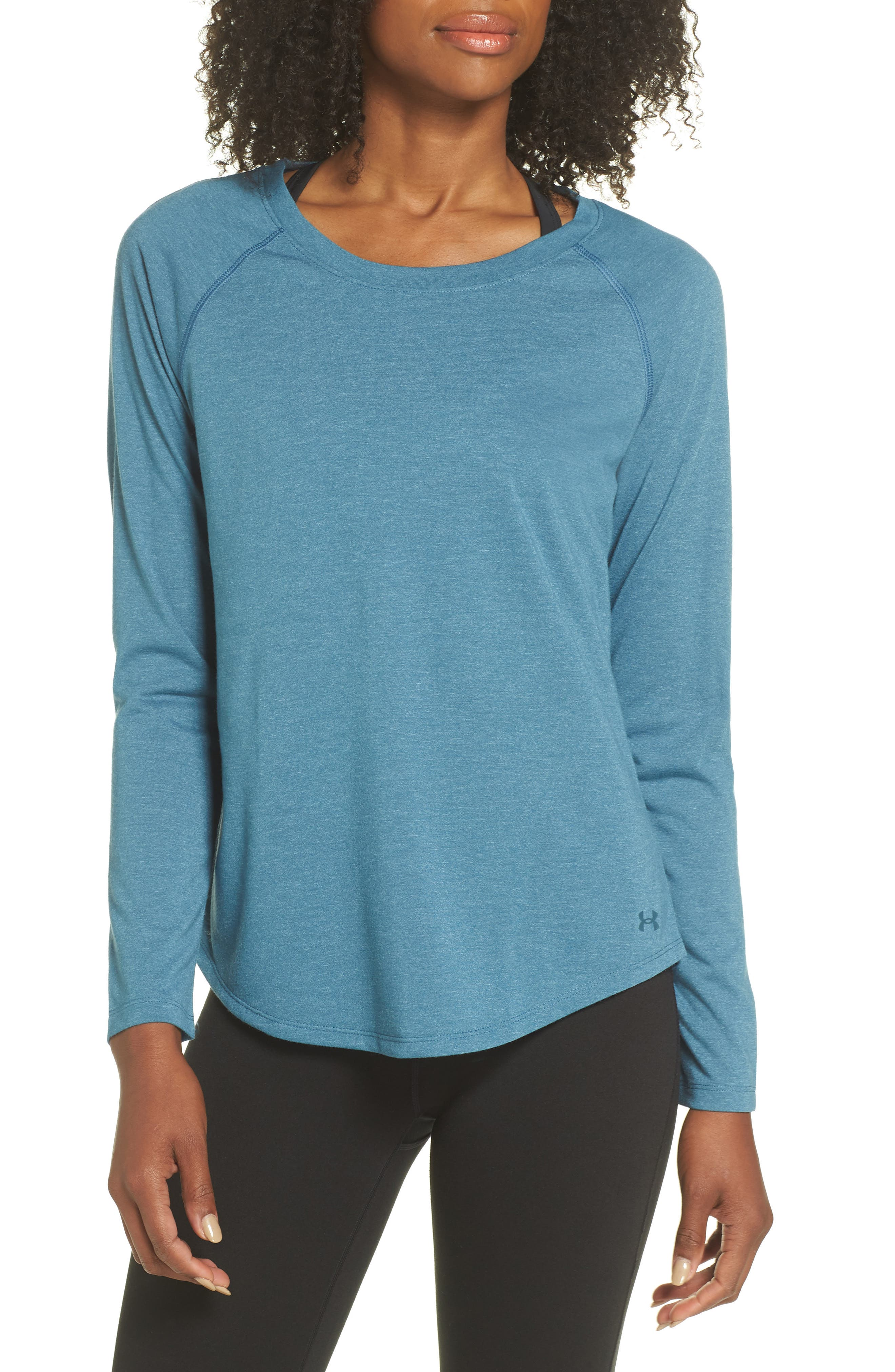 Whisperlight Long Sleeve Tee,                         Main,                         color, STATIC BLUE HEATHER/ TONAL