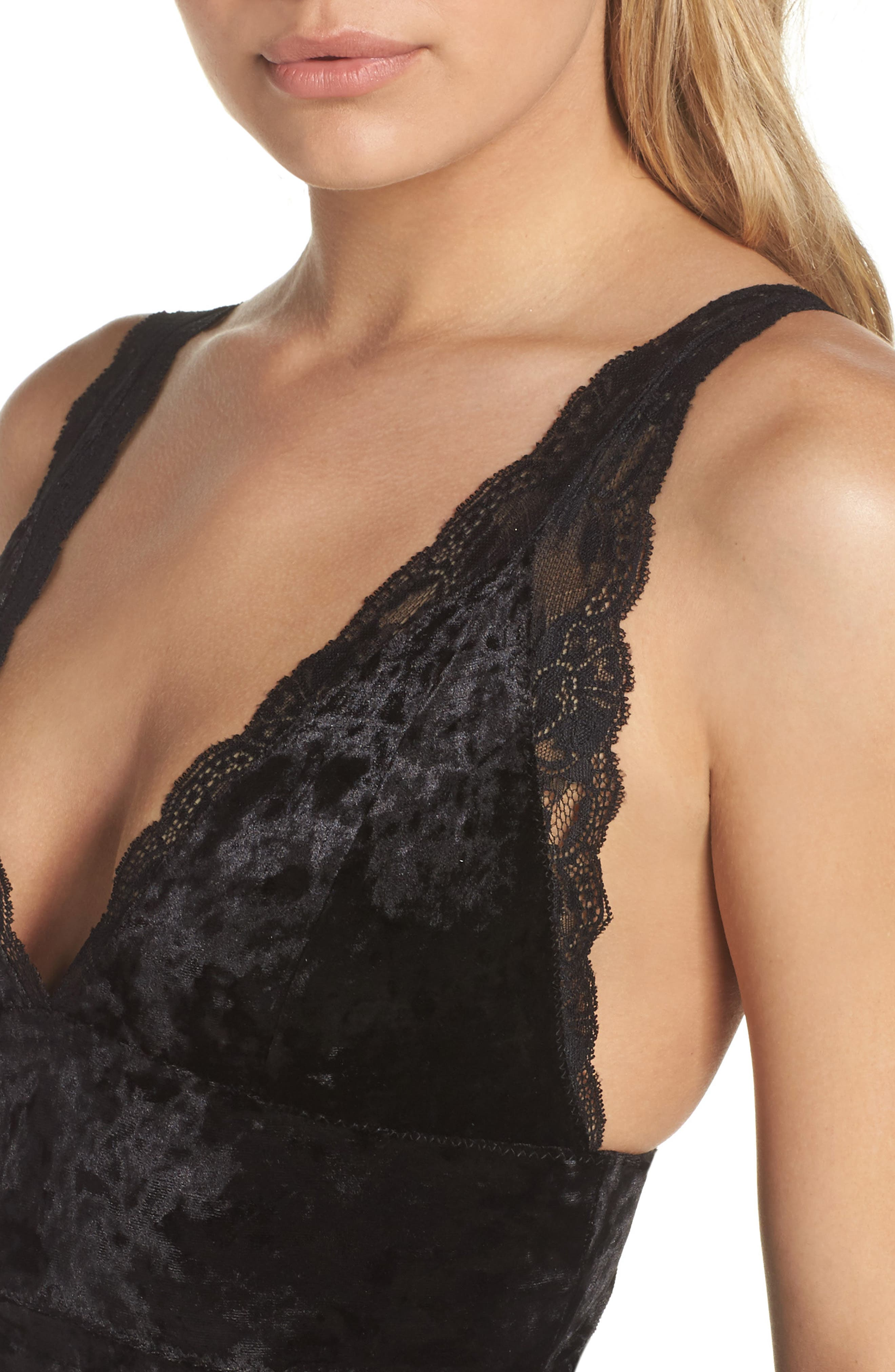 Intimately FP Viper Velvet Chemise,                             Alternate thumbnail 4, color,                             001