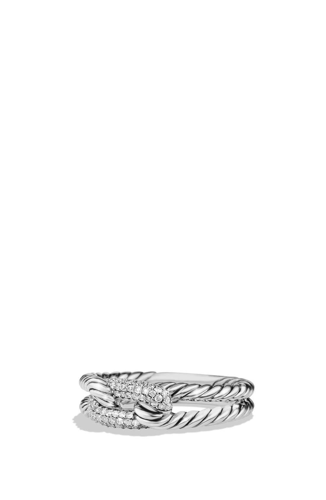 'Petite Pavé Loop Ring with Black Diamonds, Main, color, SILVER