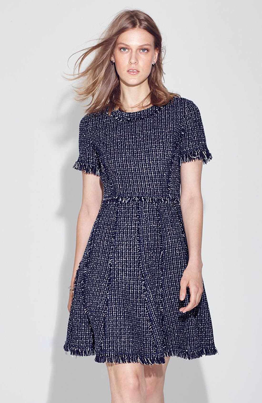 Tweed Fit & Flare Dress,                             Alternate thumbnail 6, color,                             410