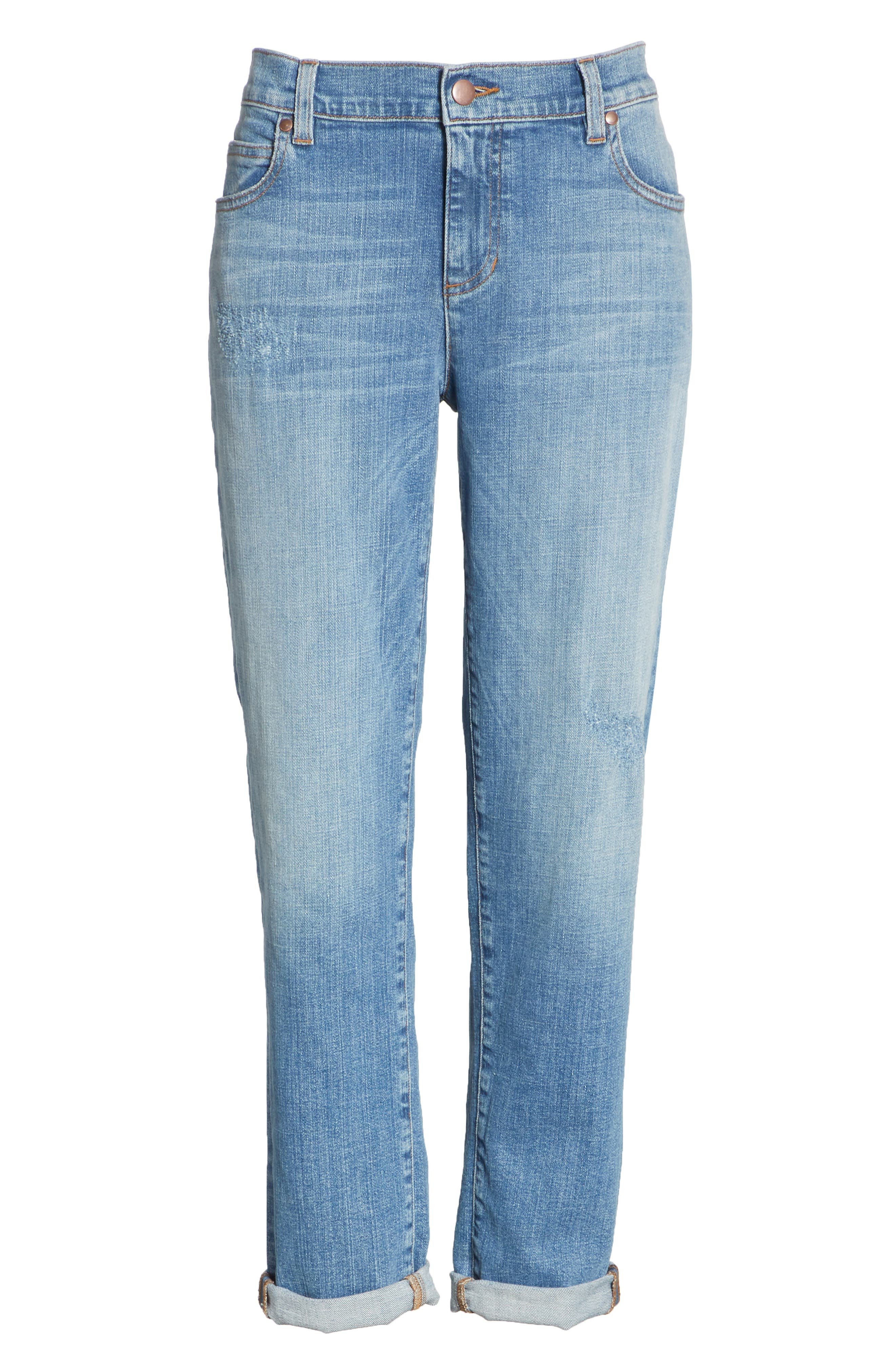 Stretch Organic Cotton Boyfriend Jeans,                             Alternate thumbnail 7, color,                             ABRADED SKY BLUE