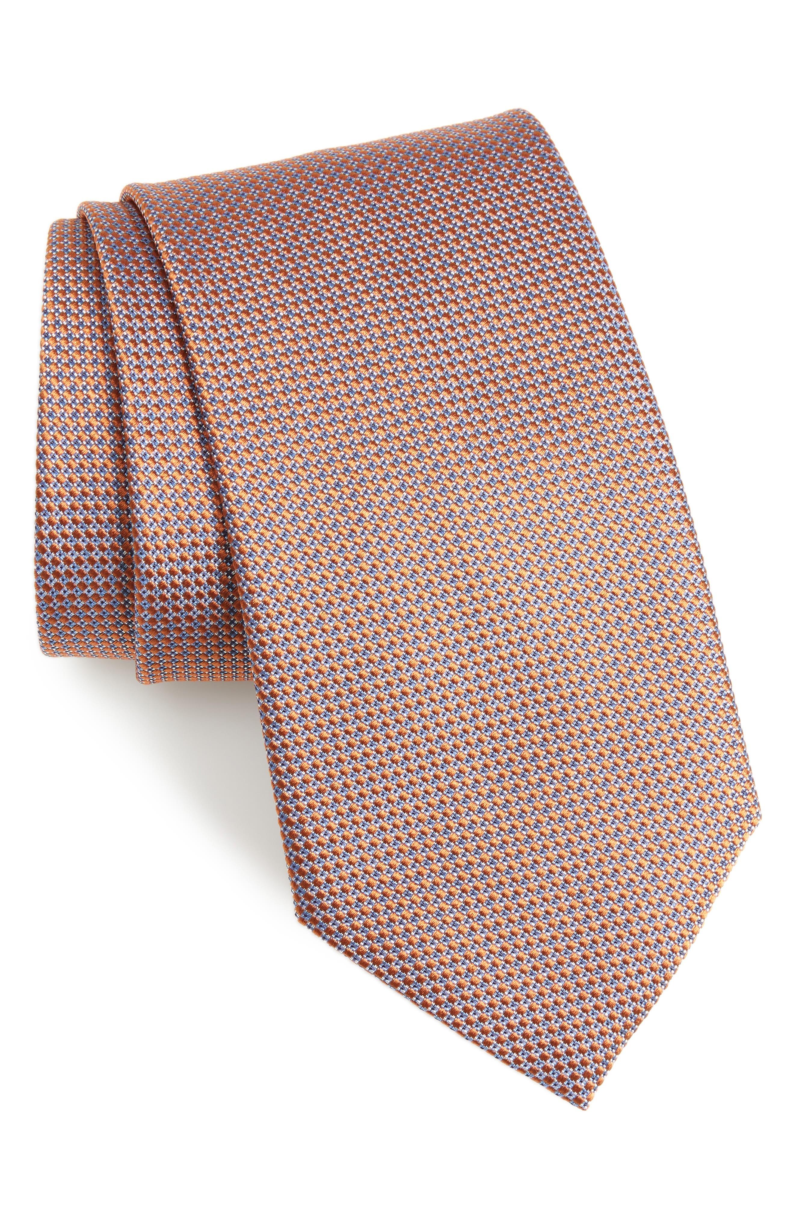 Neat Geometric Silk Tie,                             Main thumbnail 1, color,                             ORANGE/ BLUE