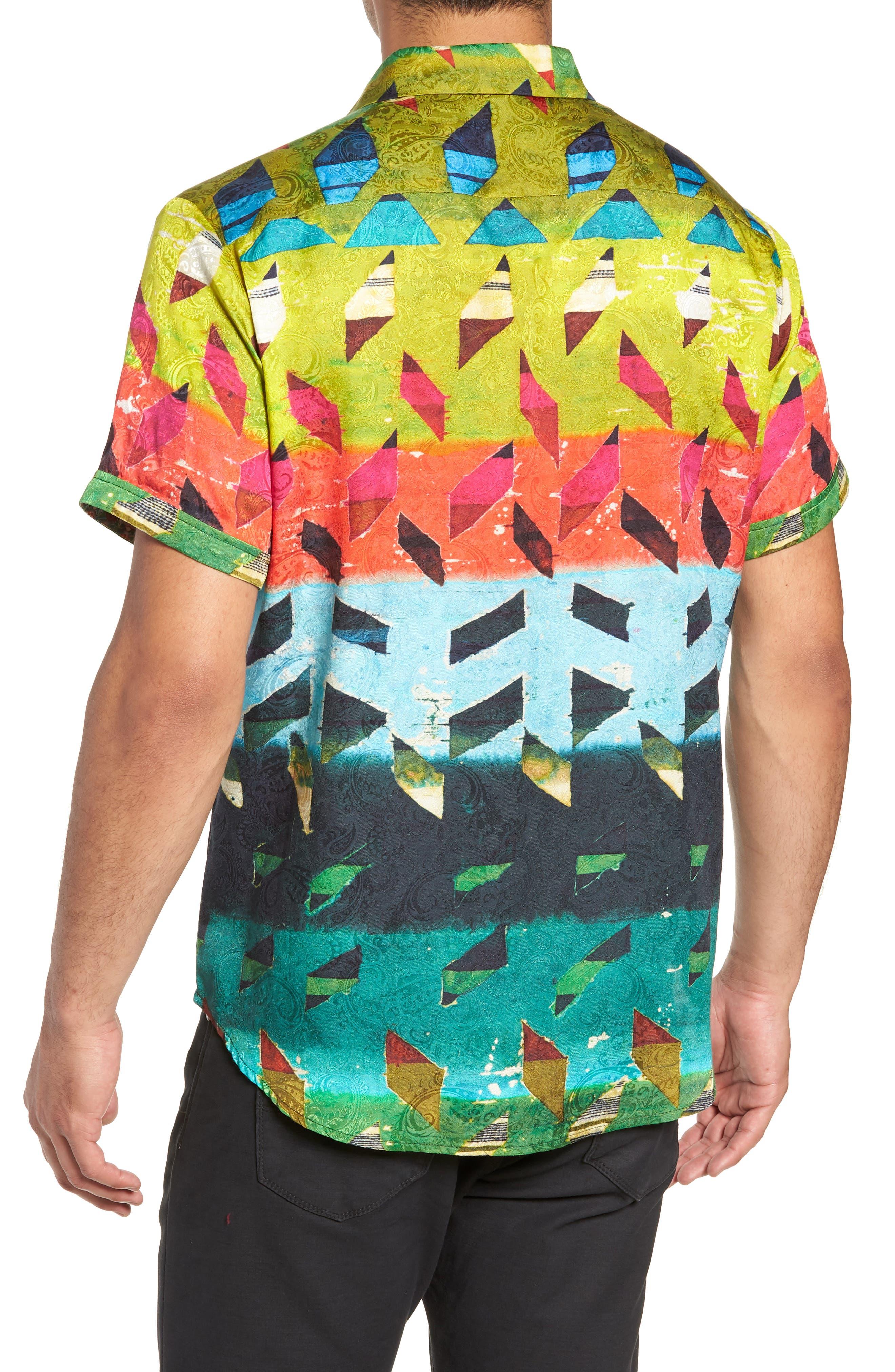 Sharpe Classic Fit Silk Blend Sport Shirt,                             Alternate thumbnail 3, color,                             MULTI