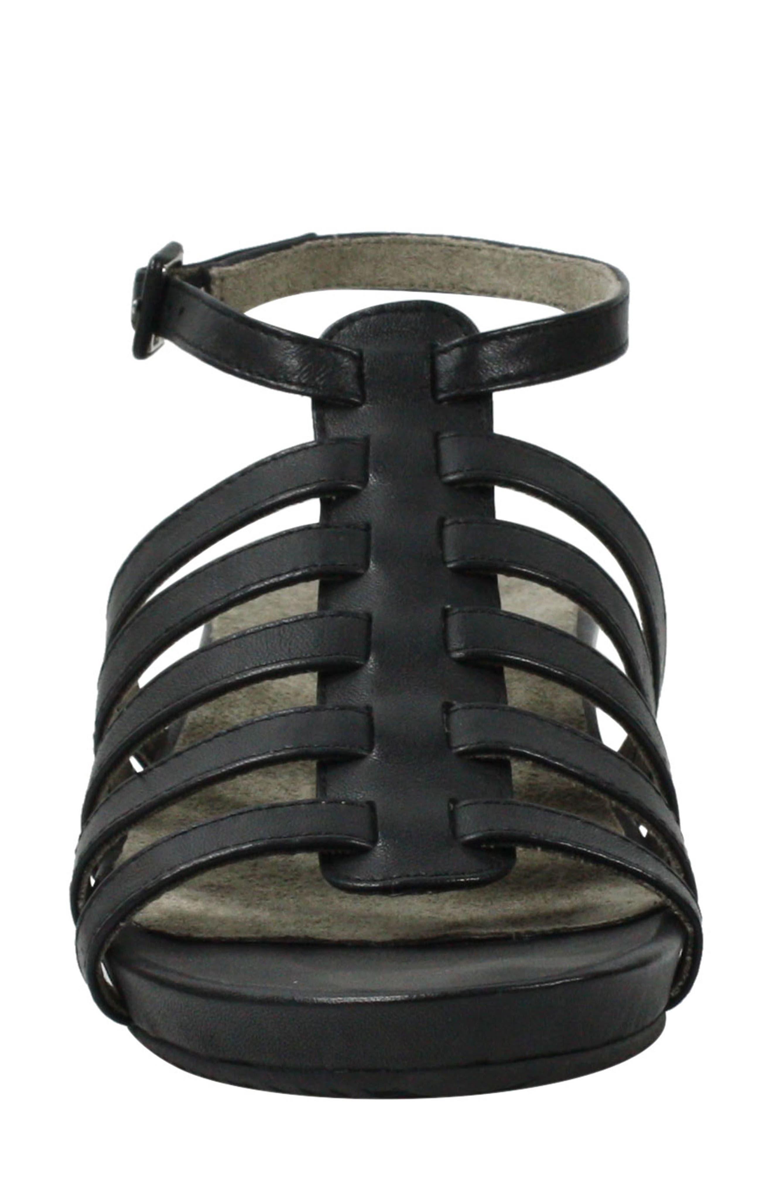 Delmor Ankle Strap Sandal,                             Alternate thumbnail 4, color,                             BLACK LEATHER