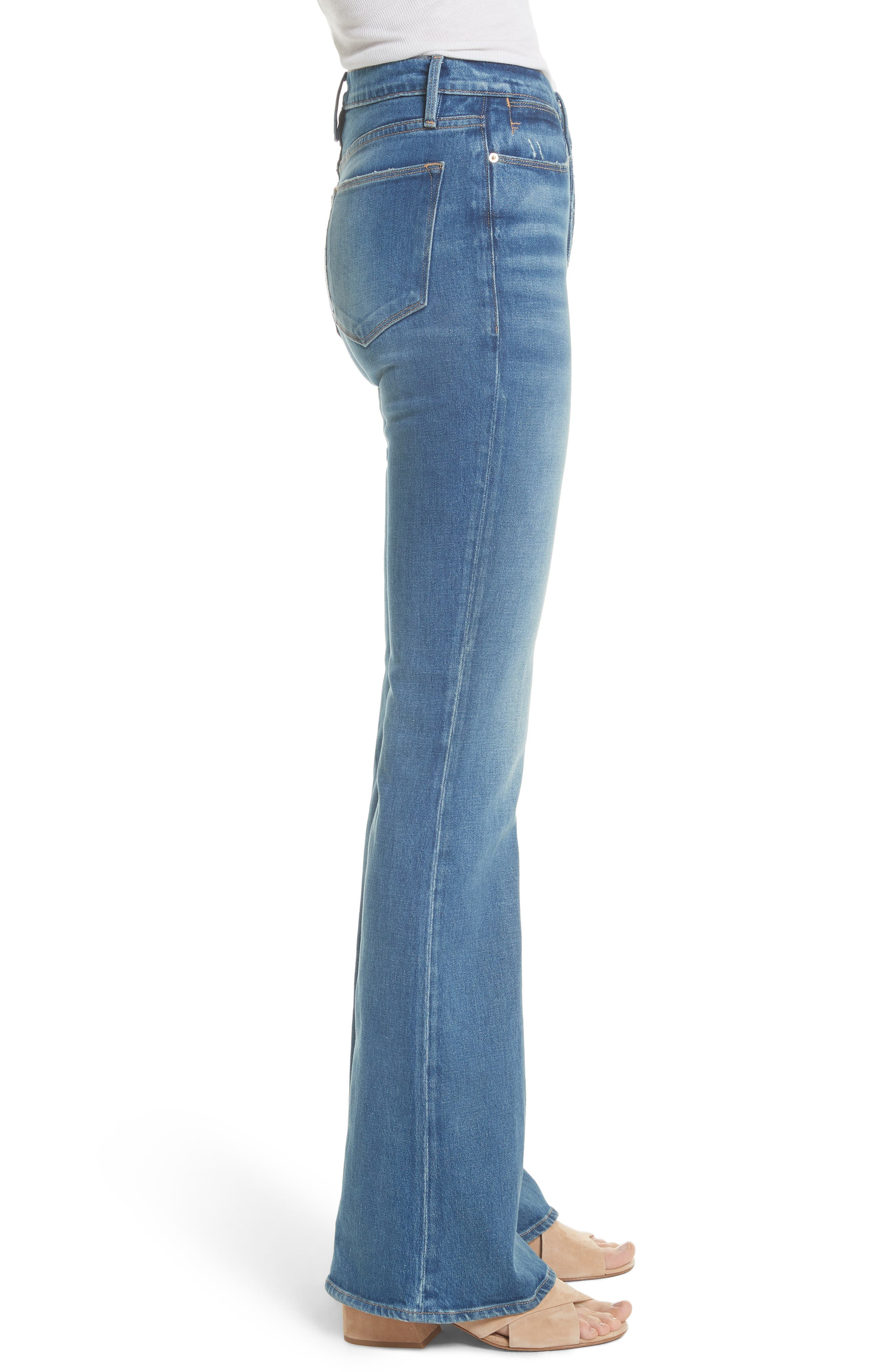 Le High Flare Jeans,                             Alternate thumbnail 3, color,                             CLAPPS