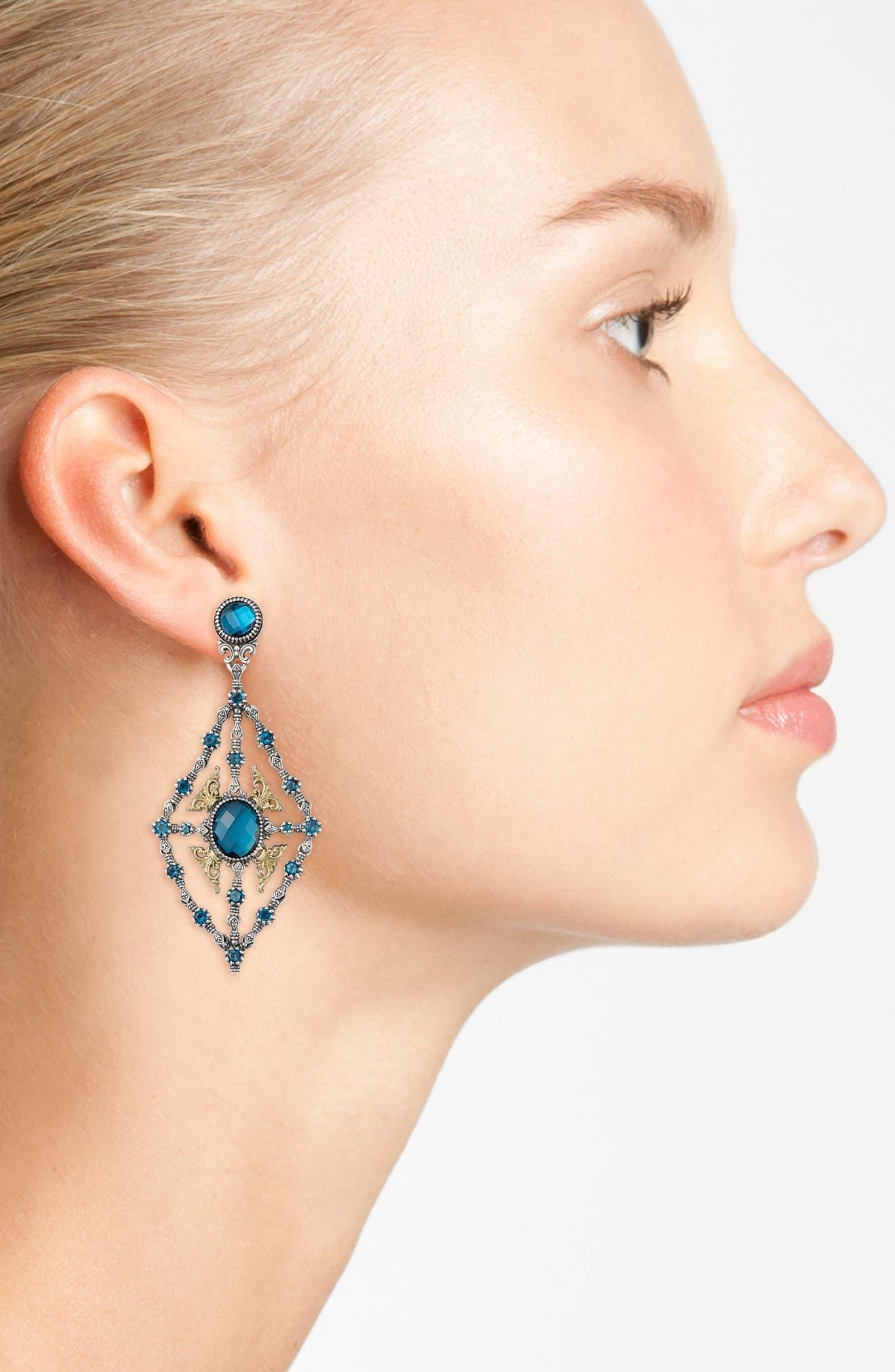 'Thalassa' Blue Topaz Kite Chandelier Earrings,                             Alternate thumbnail 3, color,                             SILVER/ LONDON BLUE TOPAZ