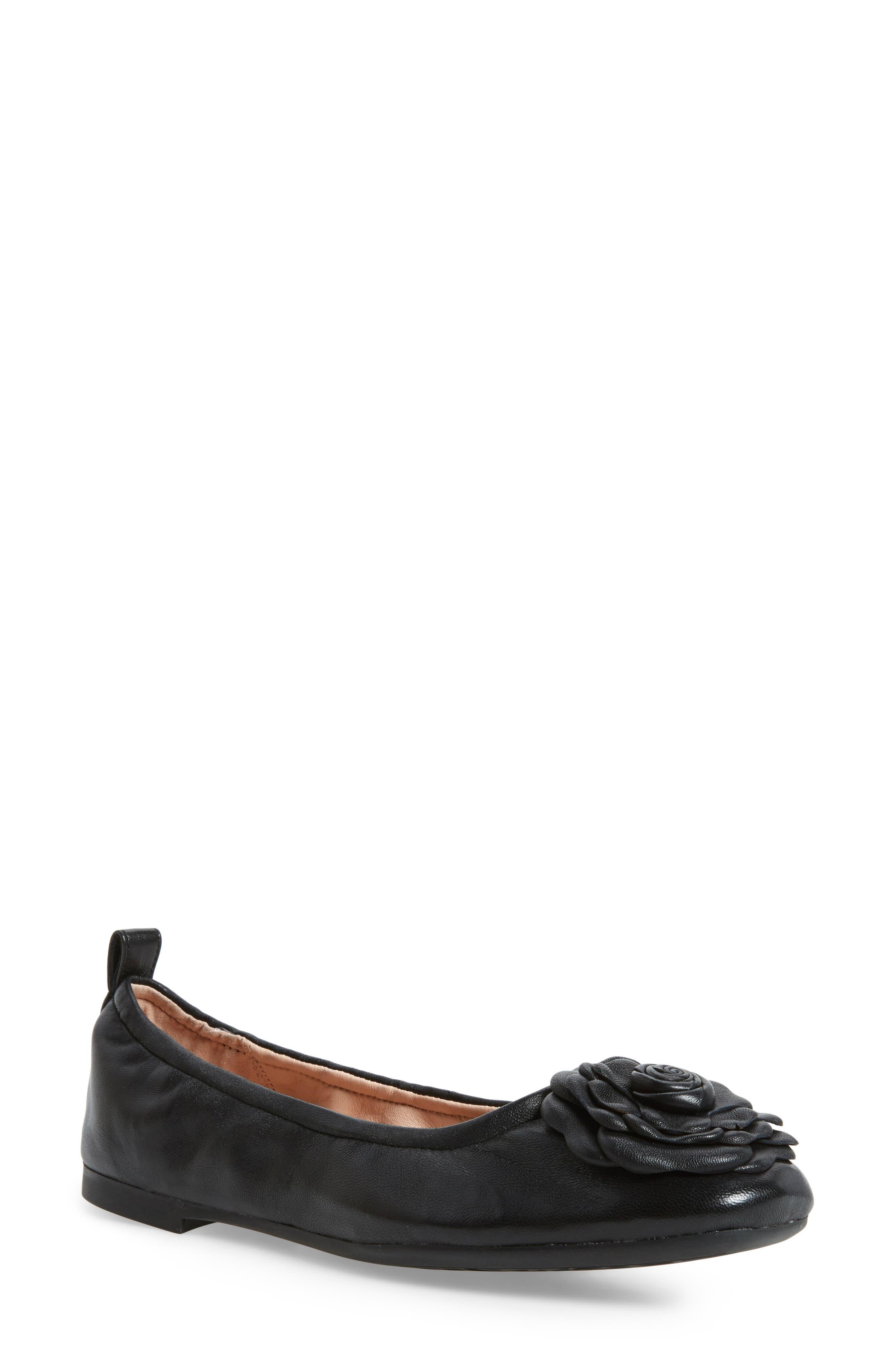 TARYN ROSE Rosalyn Leather Ballet Flats in Black Leather