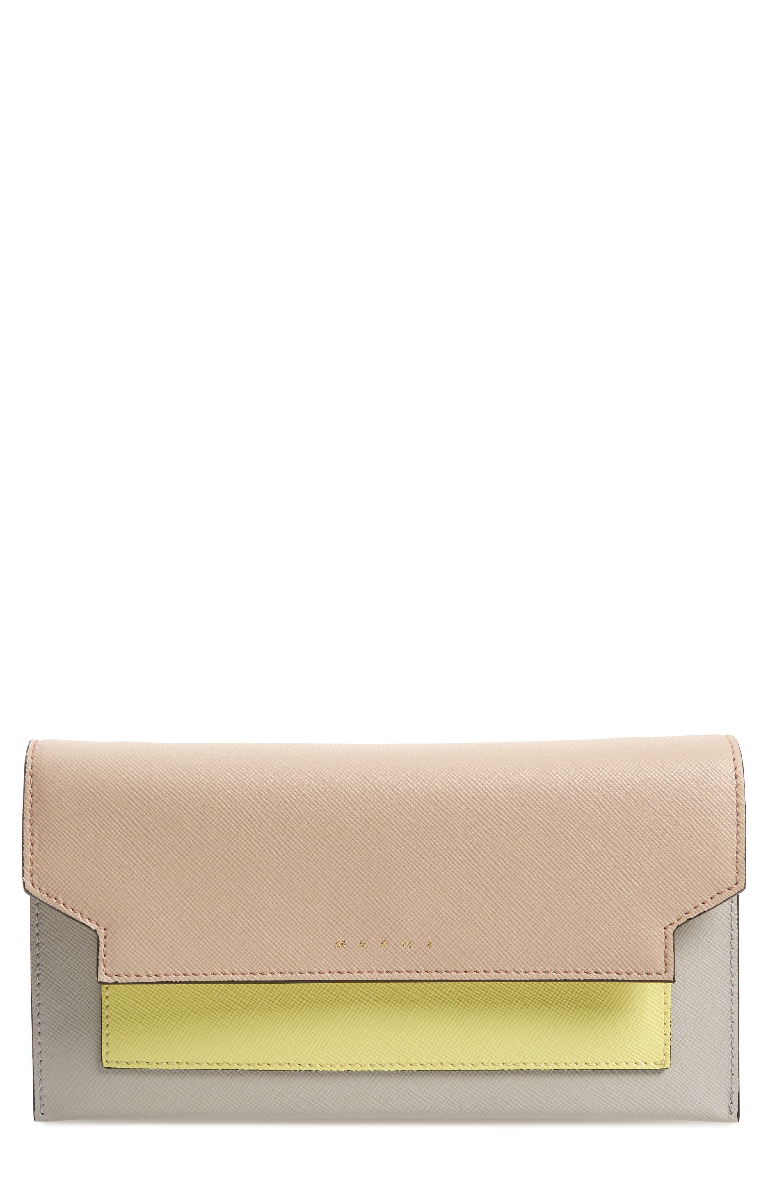 Trunk Leather Crossbody Wallet, Main, color, LIGHT CAMEL/ VANILLA/ PELICAN