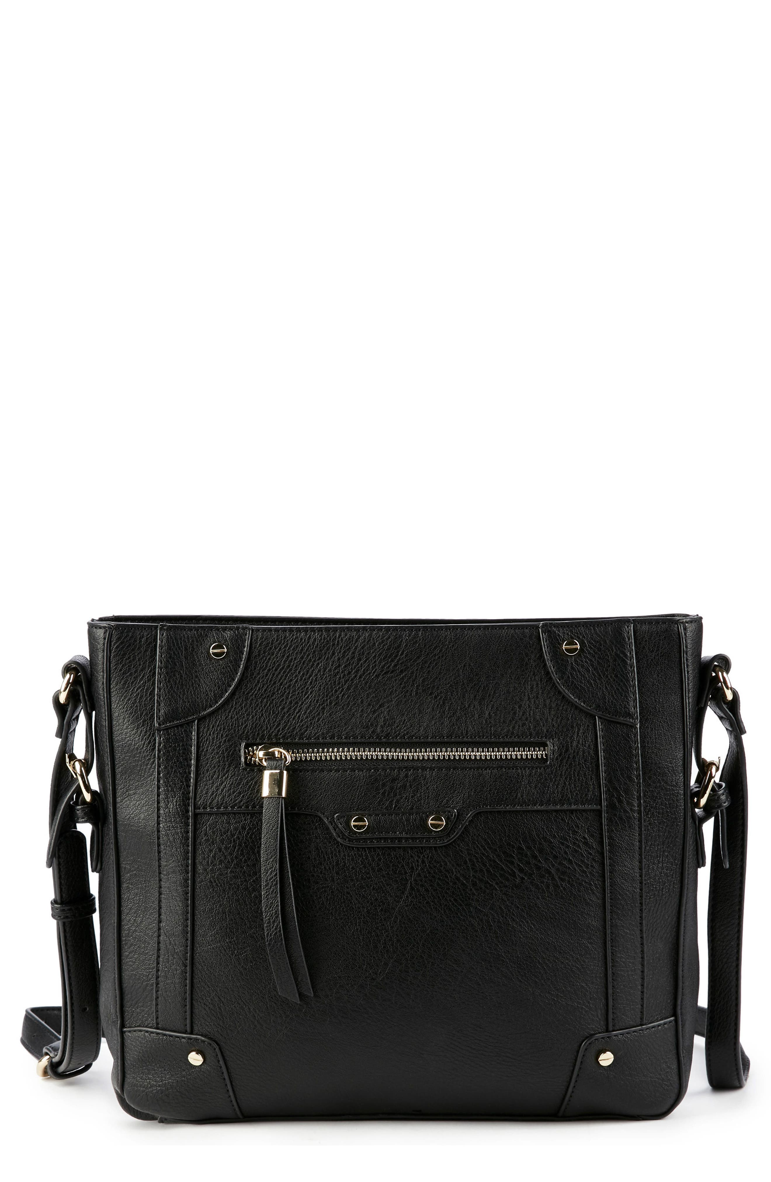 Essential Flat Faux Leather Crossbody Bag,                             Main thumbnail 1, color,