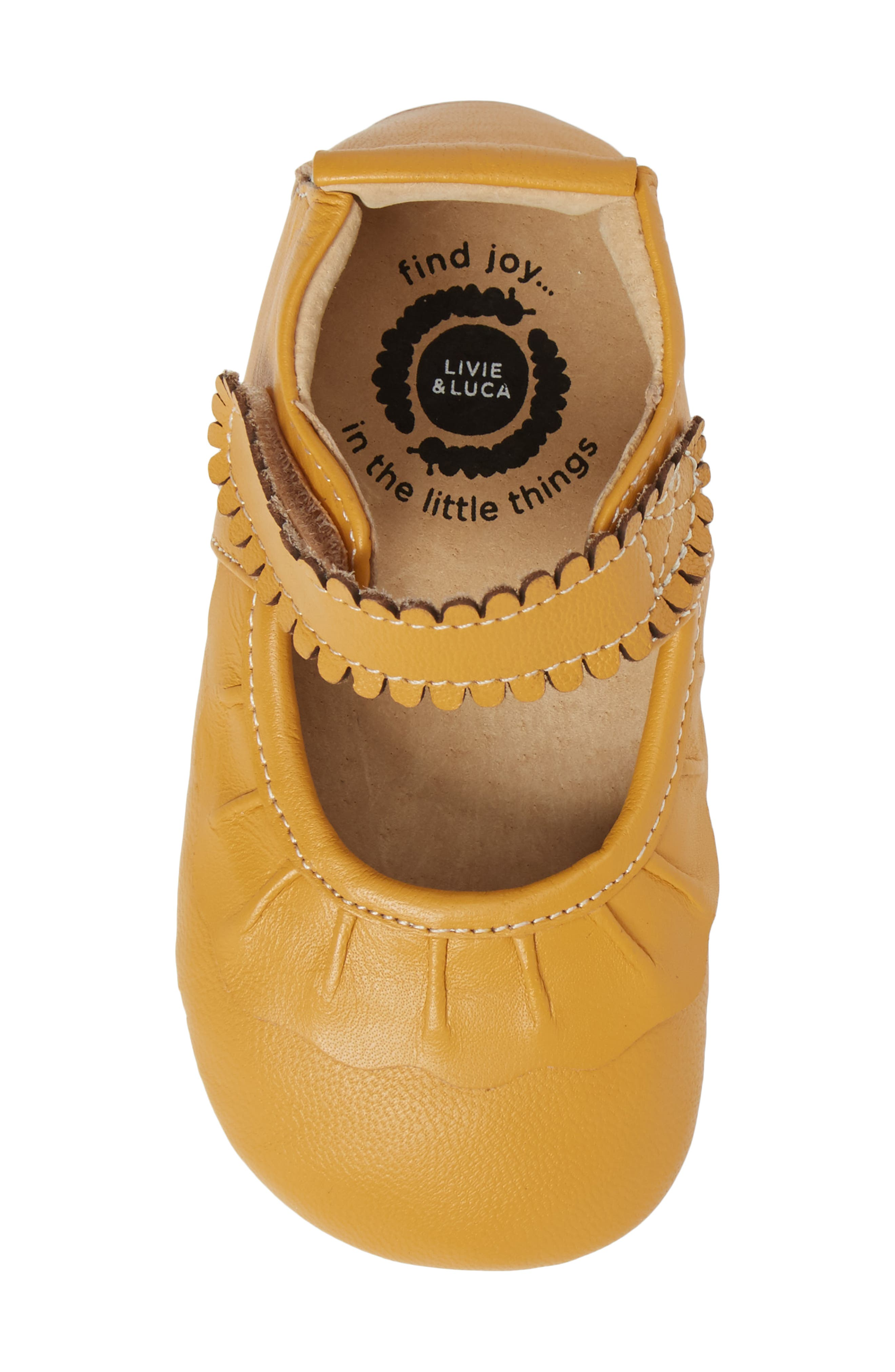 'Ruche' Mary Jane Crib Shoe,                             Alternate thumbnail 5, color,                             BUTTERSCOTCH LEATHER