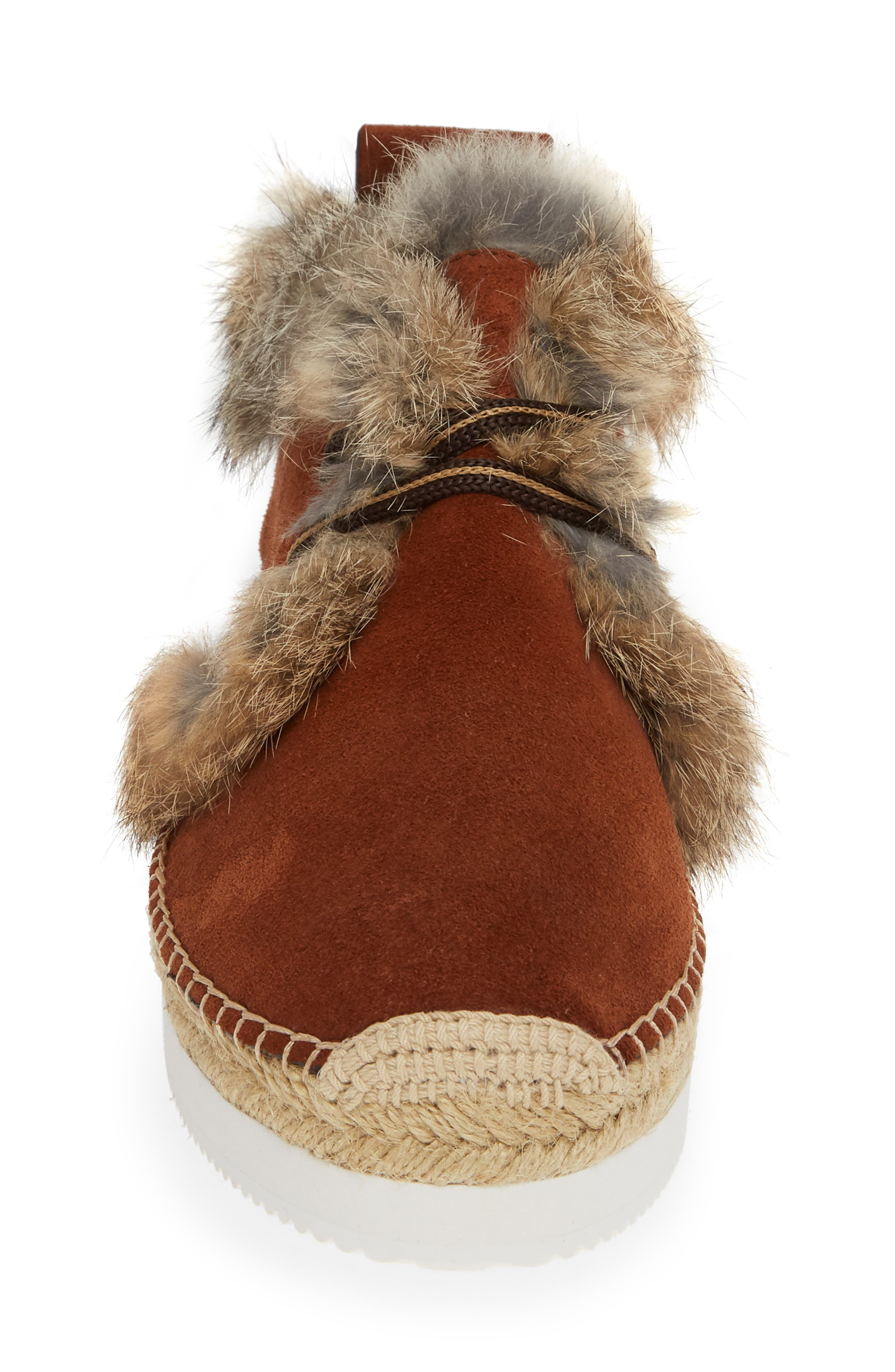 Glyn Genuine Shearling & Genuine Rabbit Fur Lace-Up Espadrille,                             Alternate thumbnail 4, color,                             COLA