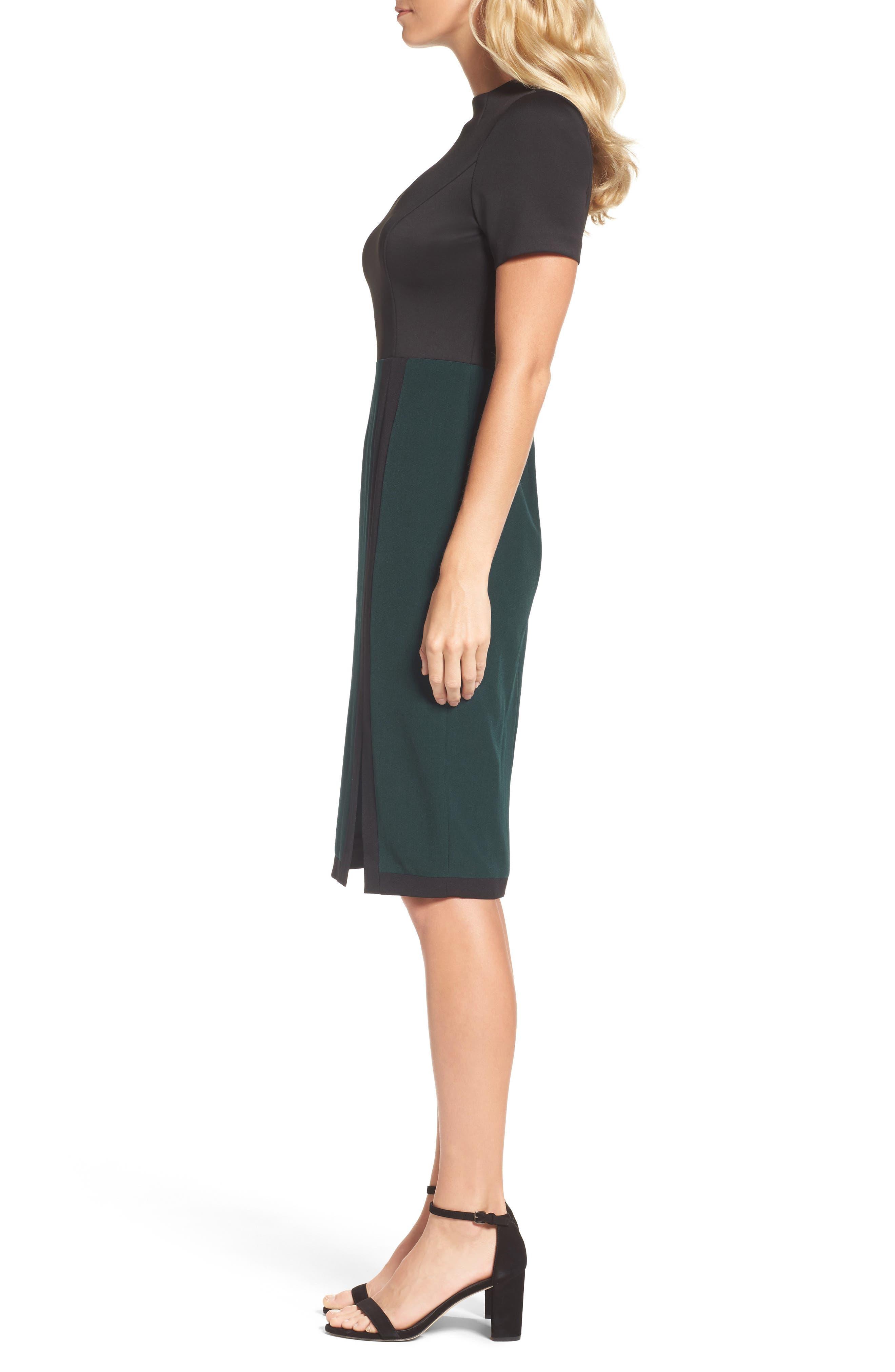 Scuba & Crepe Sheath Dress,                             Alternate thumbnail 5, color,