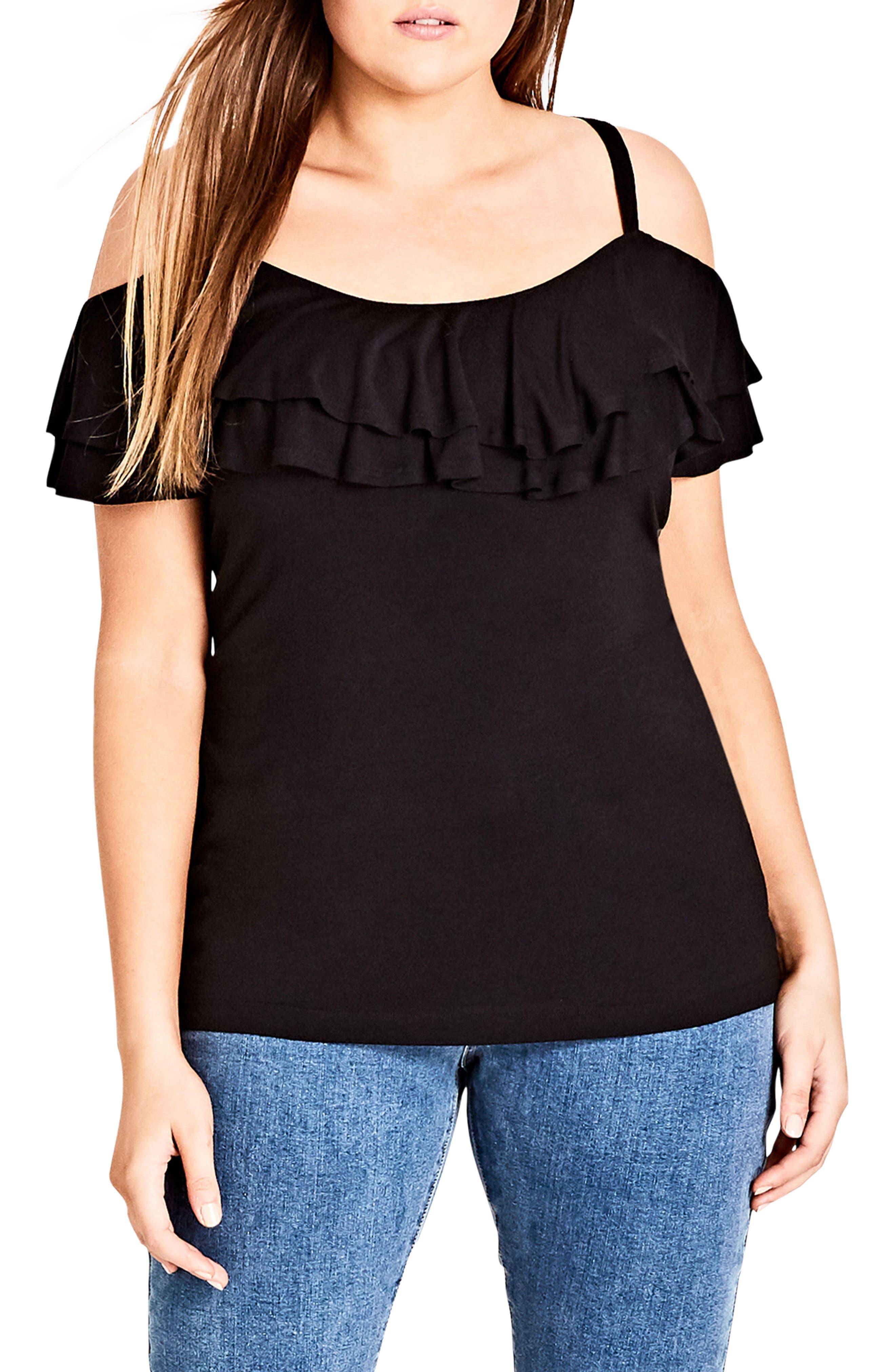 Ruffle Romance Off the Shoulder Top,                         Main,                         color, BLACK