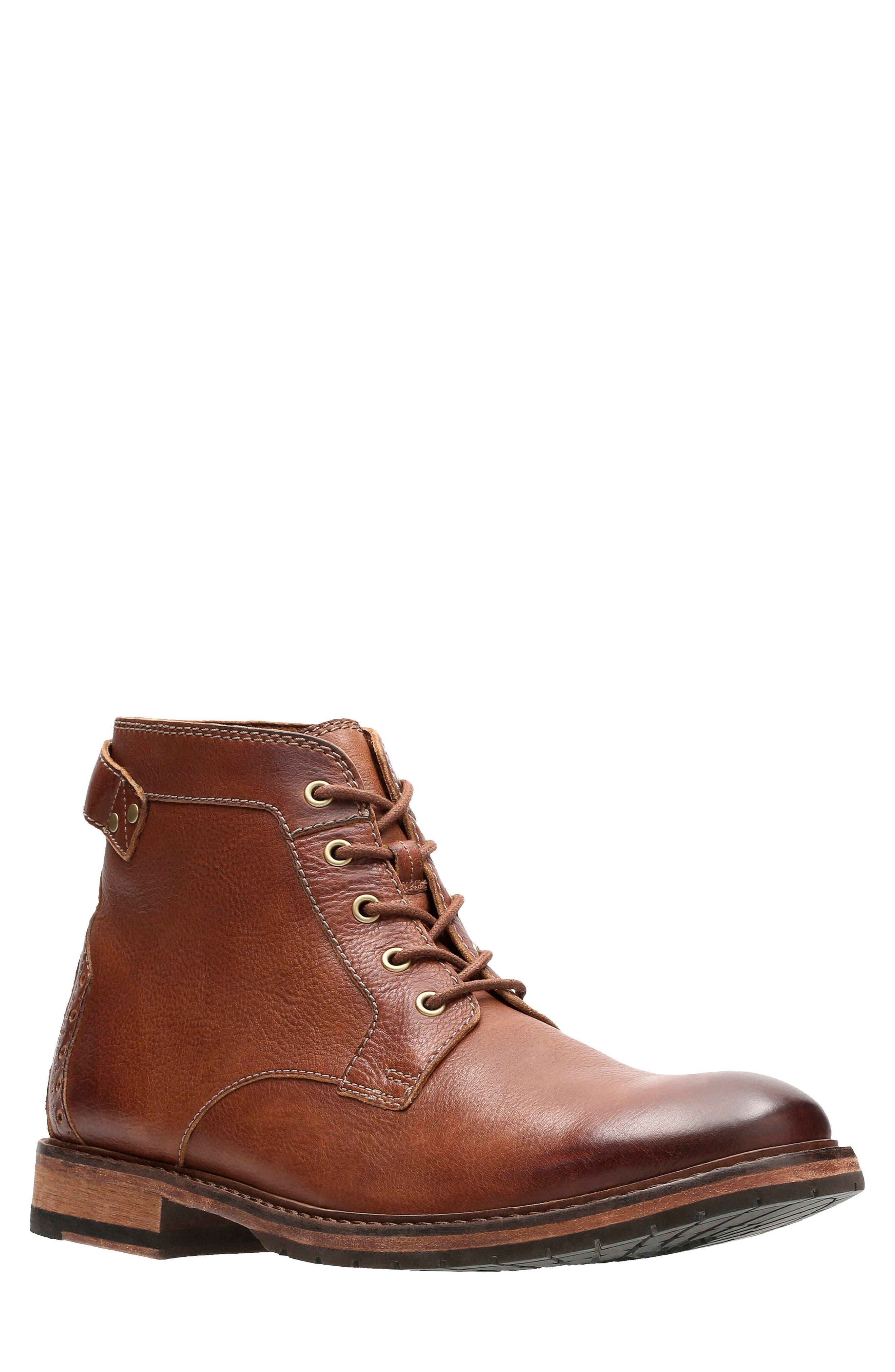 Clarkdale Bud Plain Toe Boot,                             Main thumbnail 1, color,                             DARK TAN LEATHER
