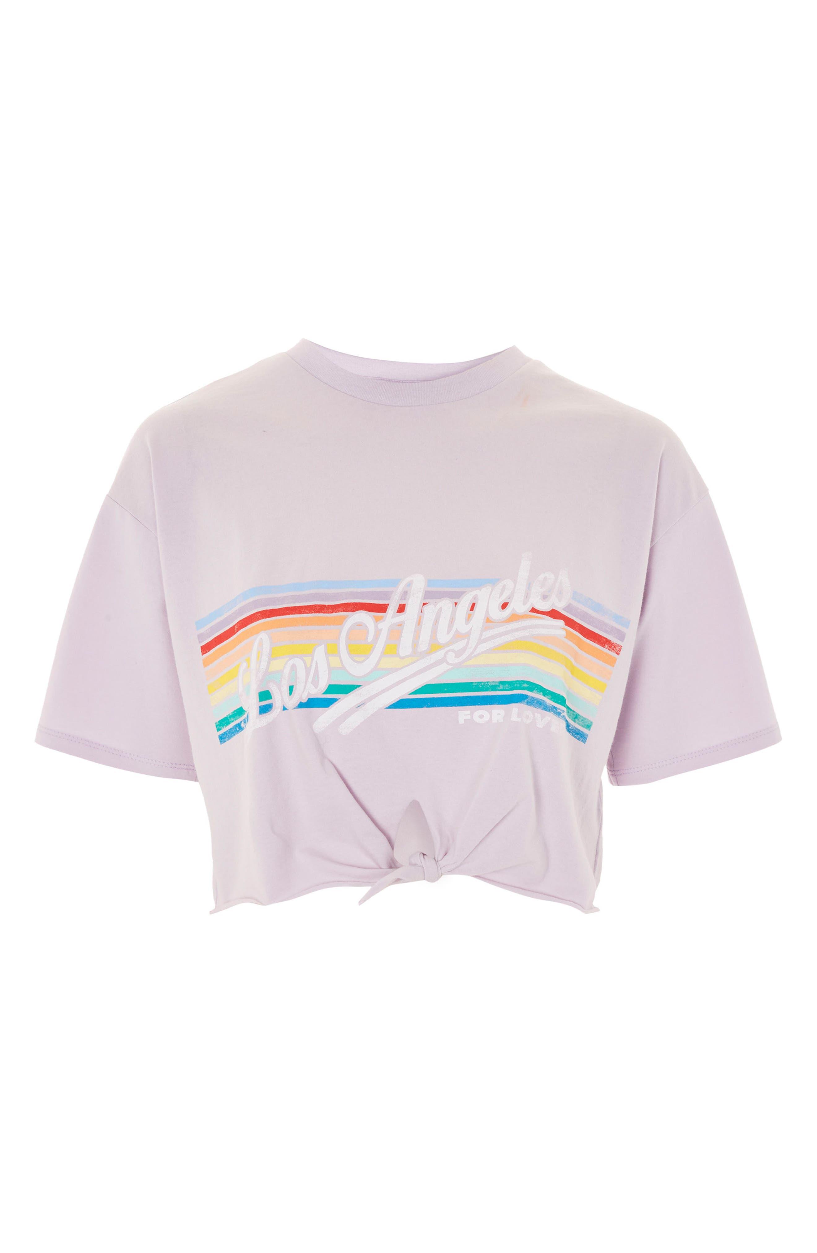 LA Rainbow Stripe T-Shirt,                             Alternate thumbnail 3, color,                             530