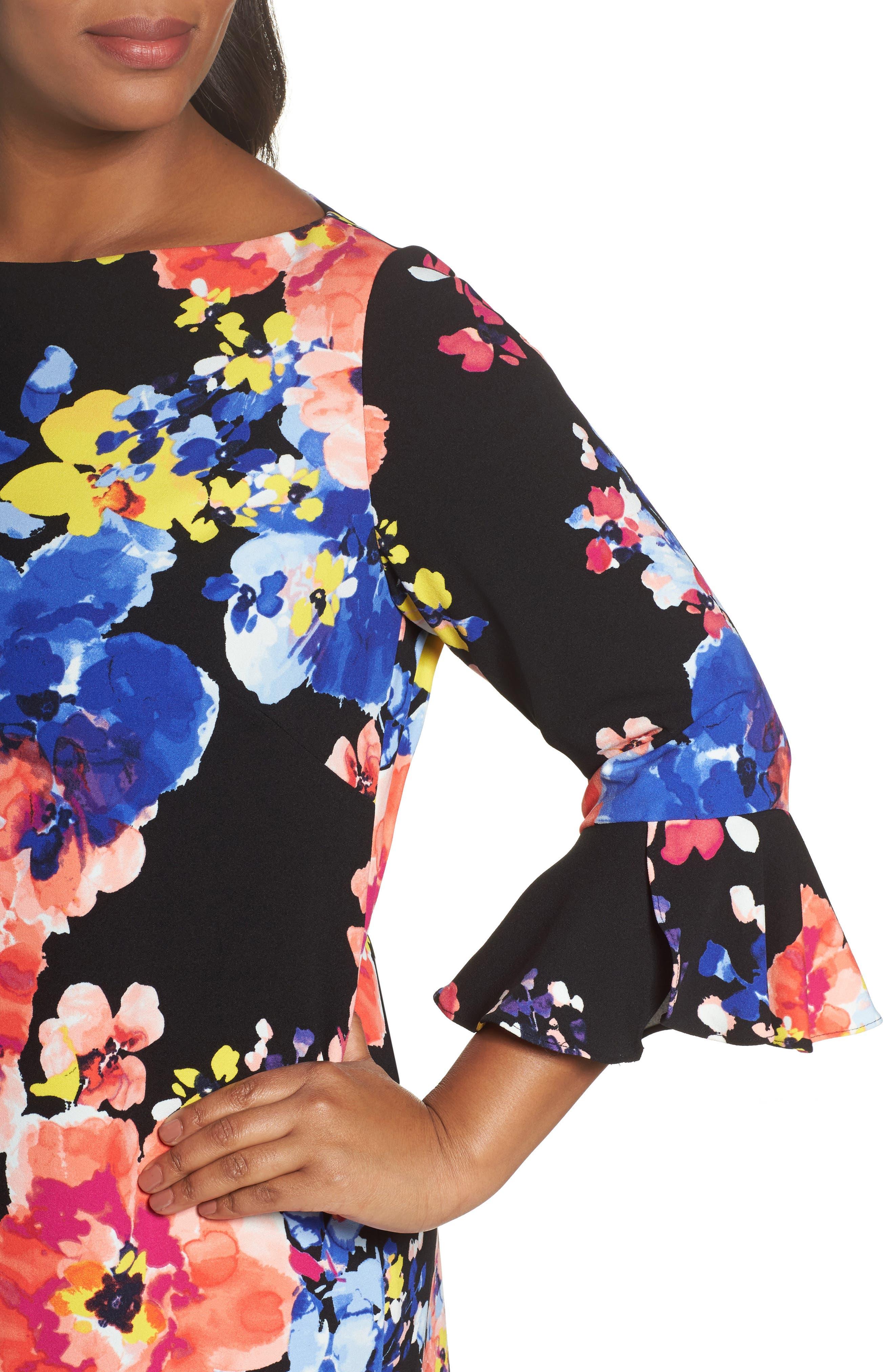 Print Ruffle Sleeve Shift Dress,                             Alternate thumbnail 4, color,                             017