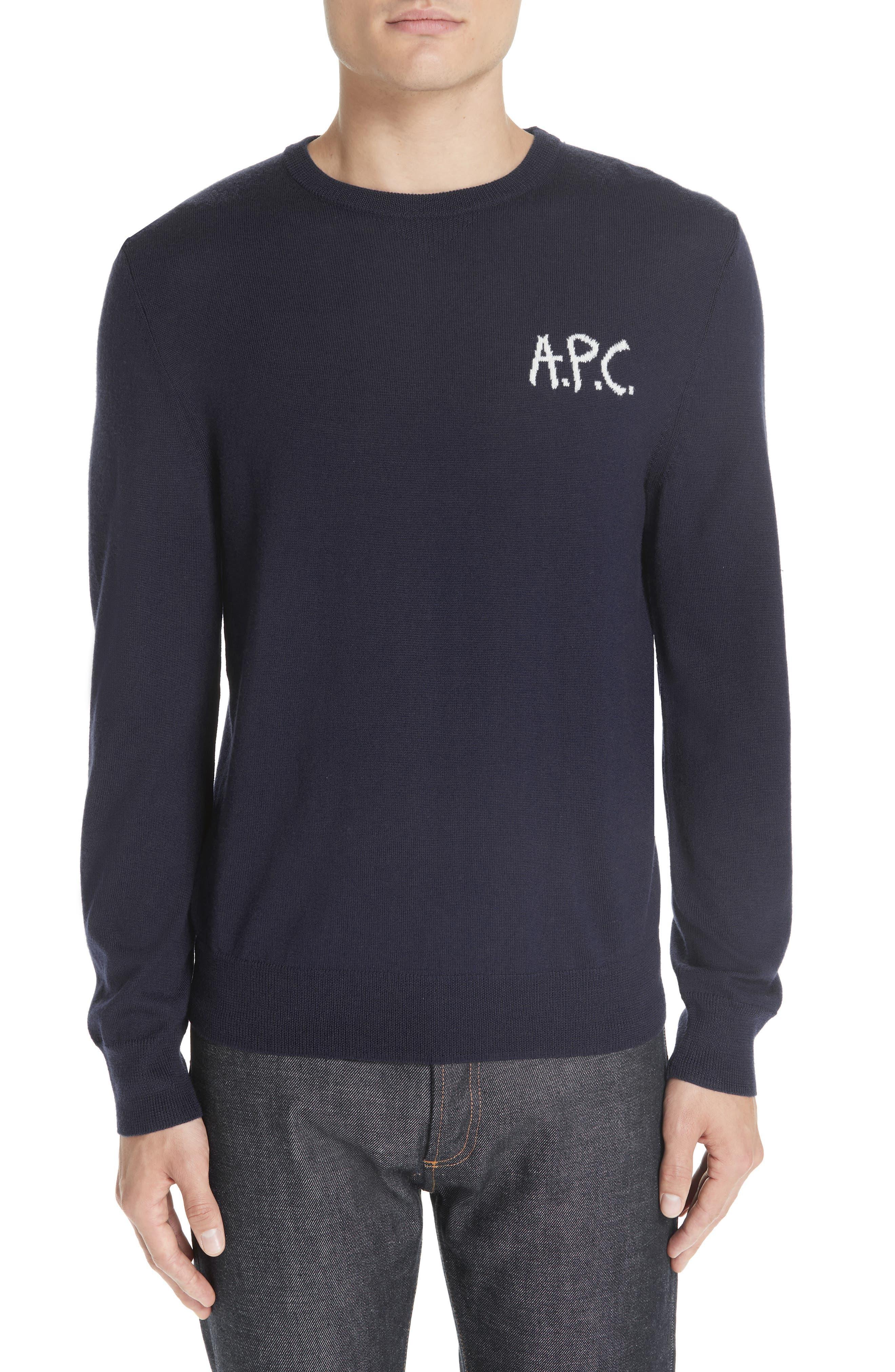A.p.c. Logo Merino Wool Sweater, Blue