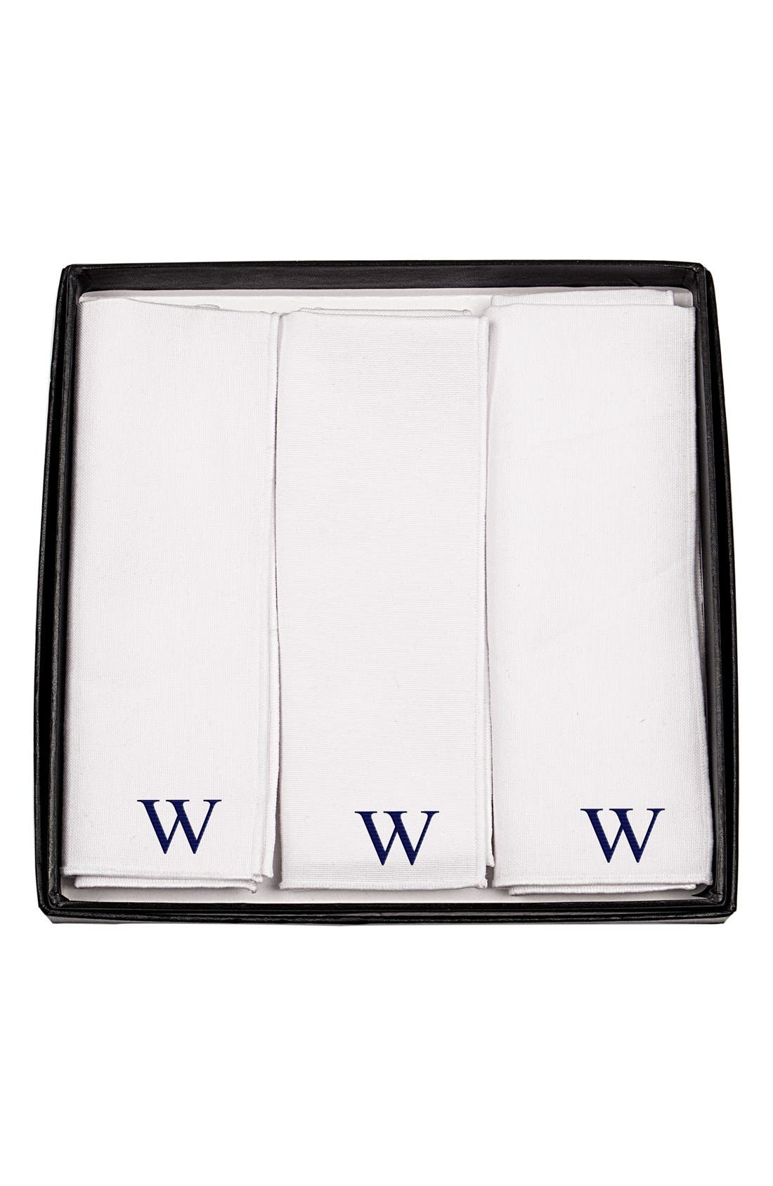 Set of 3 Monogram Cotton Pocket Squares,                             Alternate thumbnail 3, color,                             C