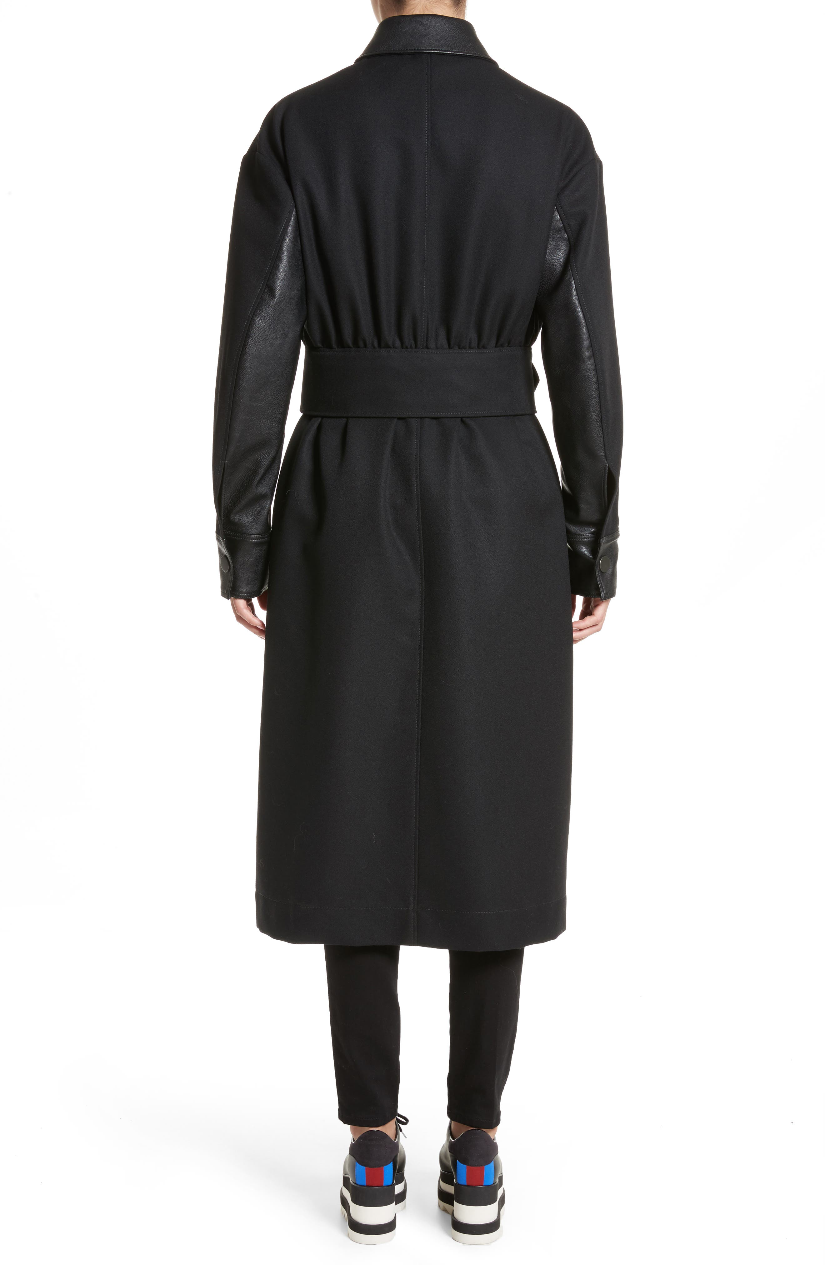 Eden Alter Leather Trim Wool Coat,                             Alternate thumbnail 2, color,                             001