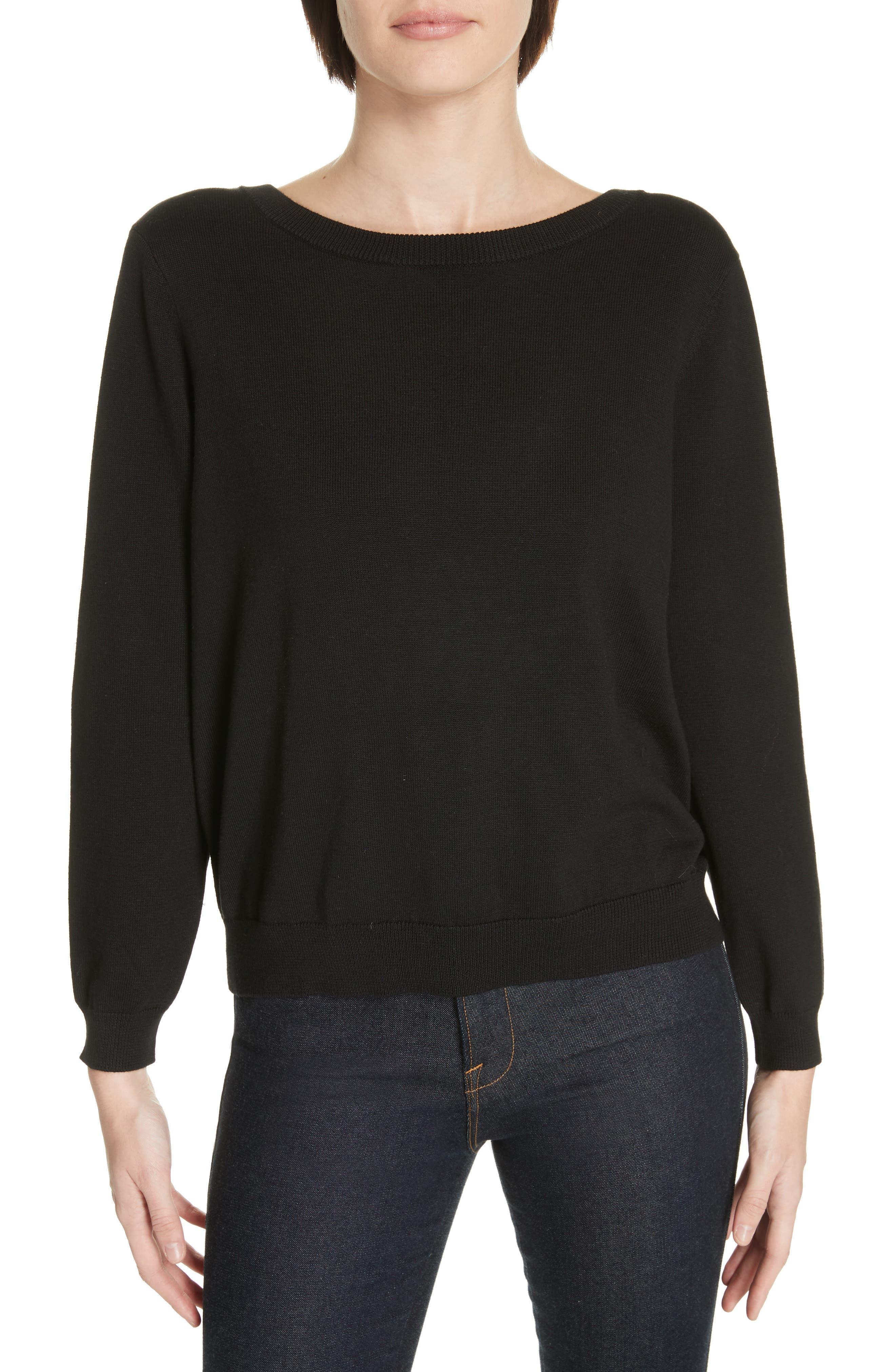 Dolina Embellished Back Sweater, Main, color, NOIR