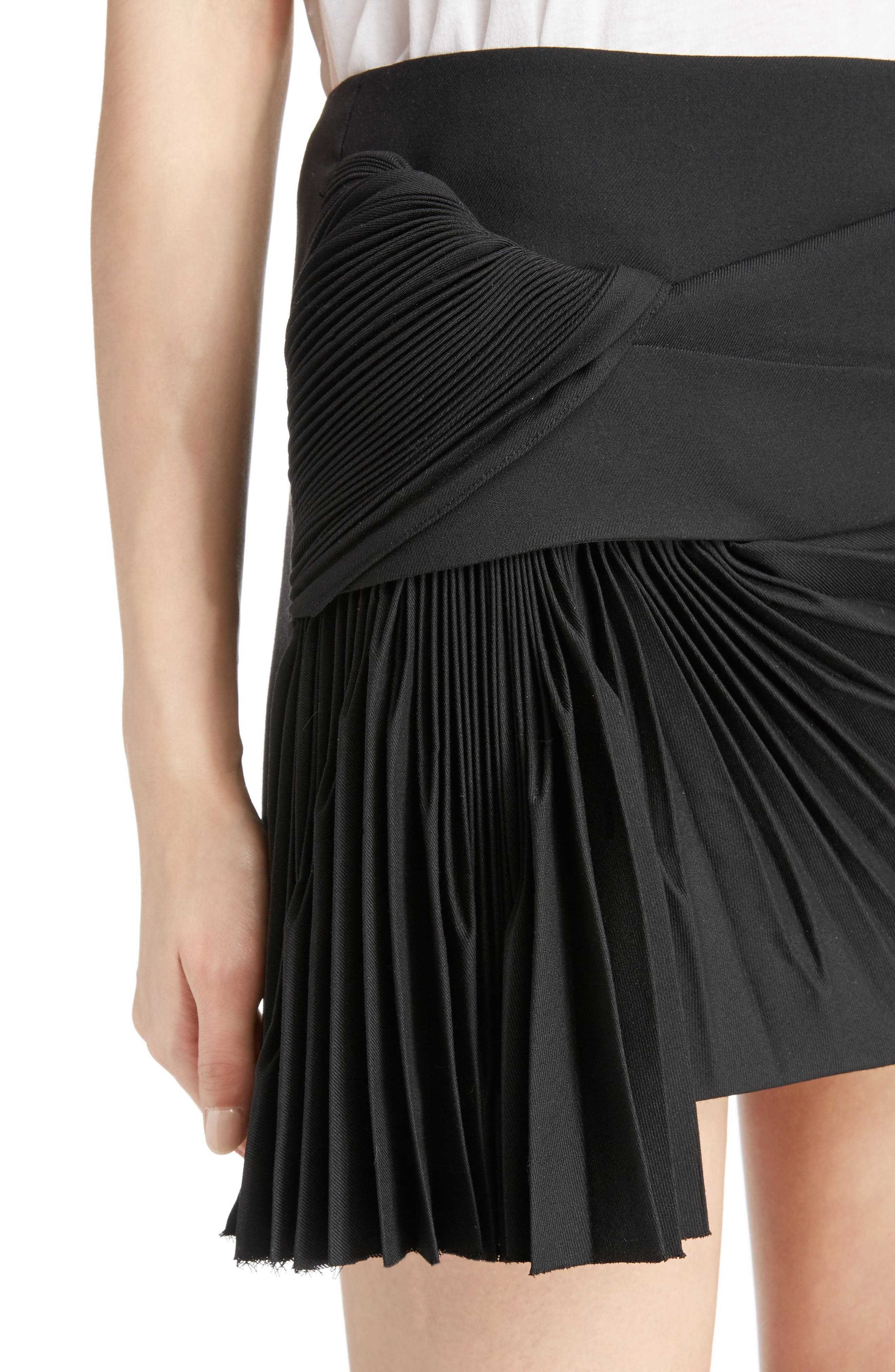 Pleated Wool Gabardine Miniskirt,                             Alternate thumbnail 4, color,                             001