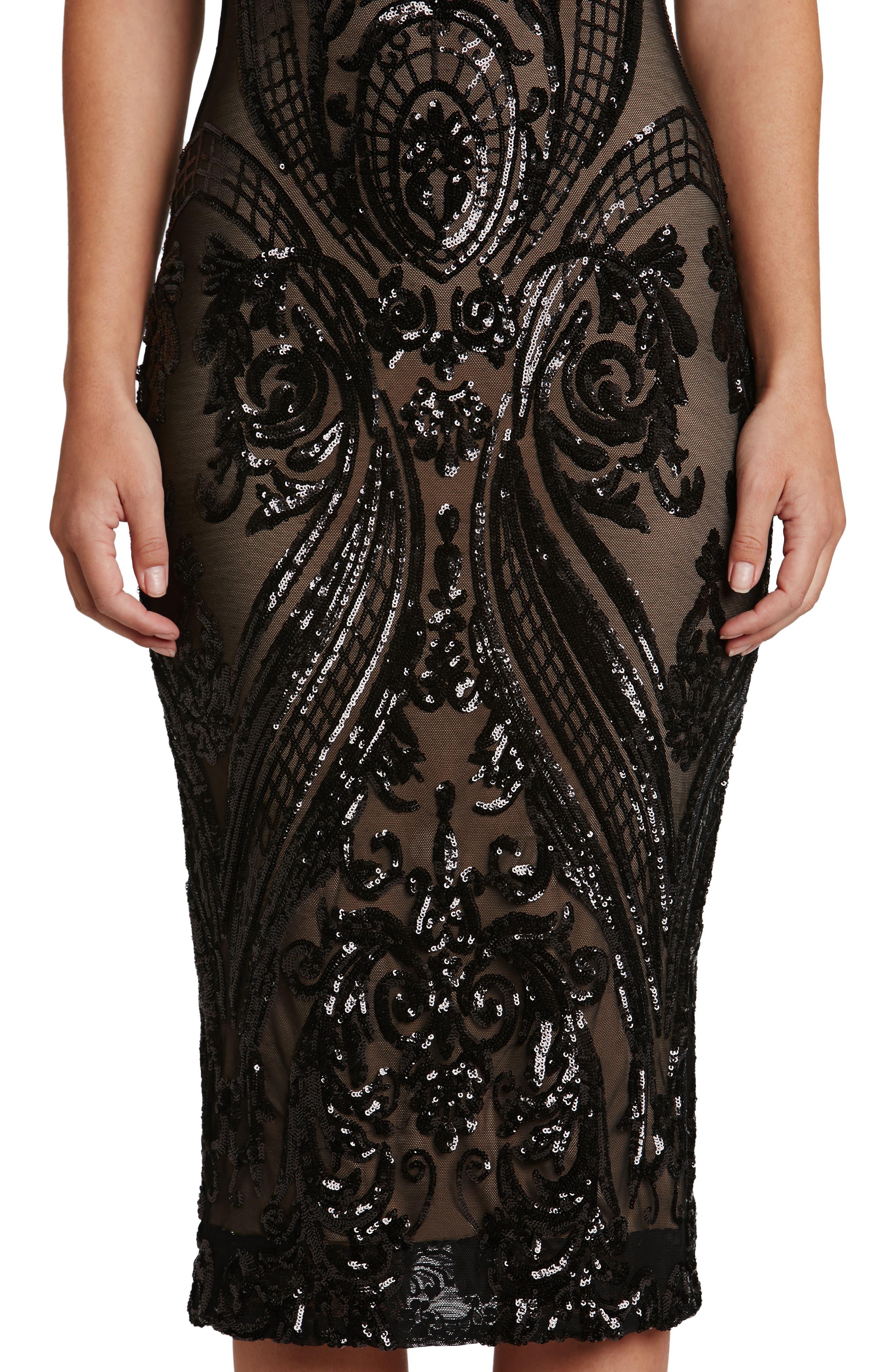 Brandi Sequin Body-Con Dress,                             Alternate thumbnail 4, color,                             002