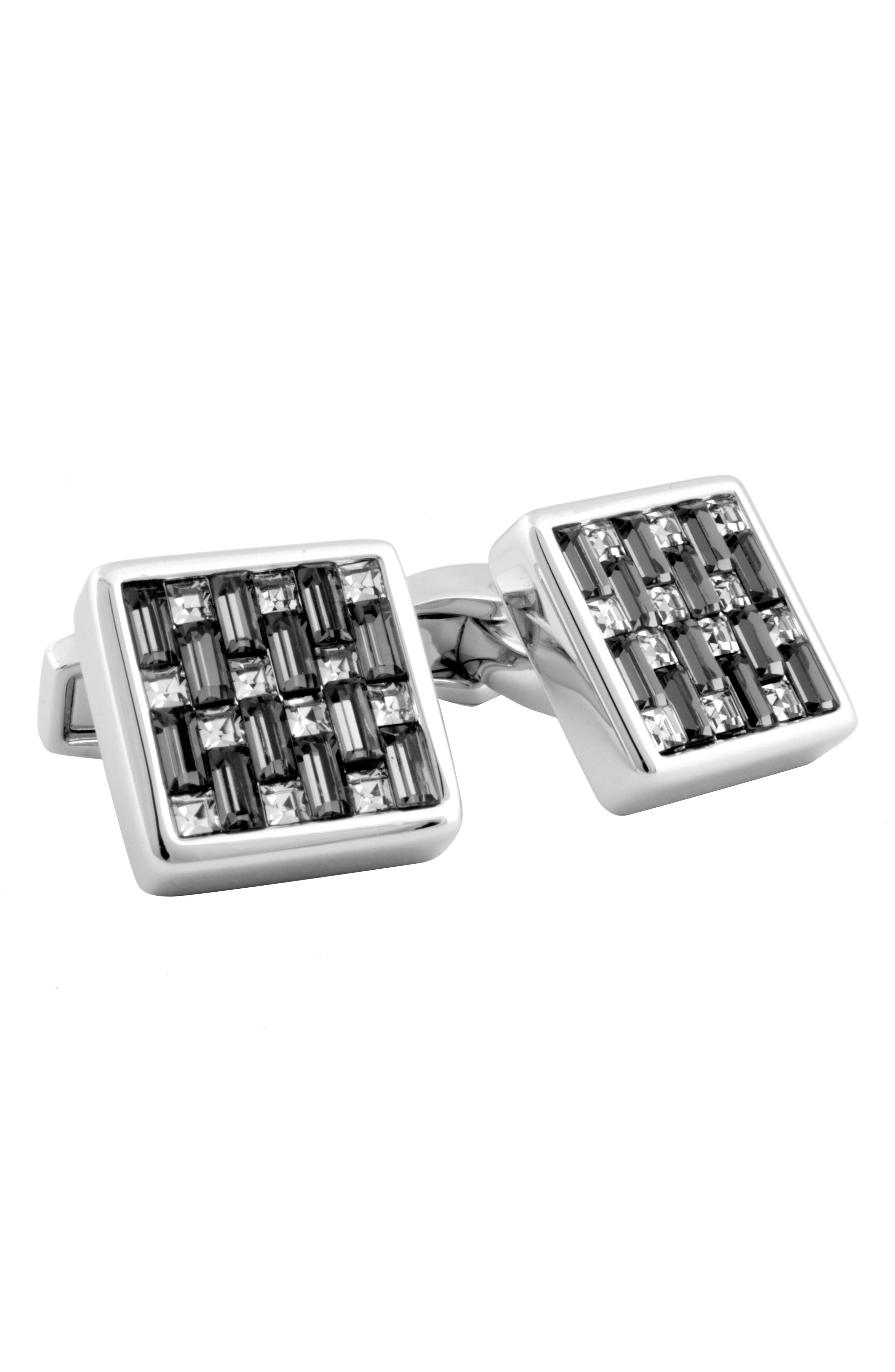Swarovski Square Cuff Links,                             Alternate thumbnail 2, color,                             BLACK