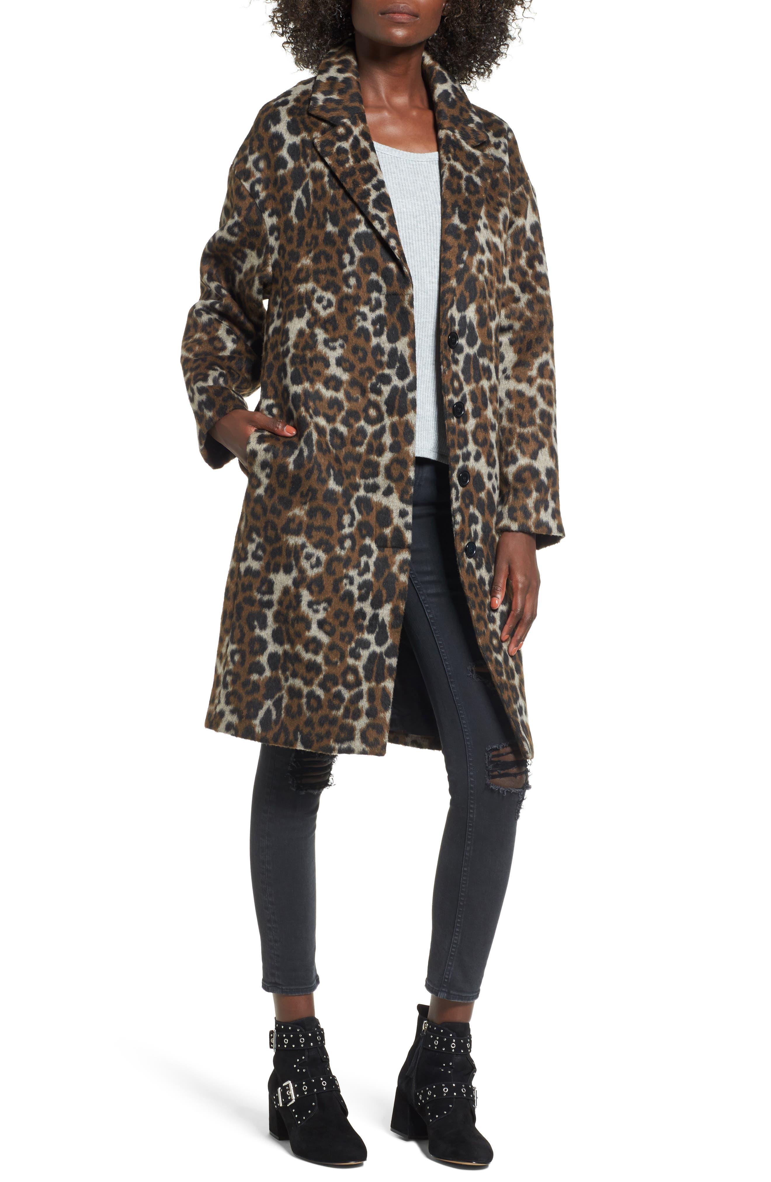 Oversize Leopard Print Topcoat,                         Main,                         color, 200