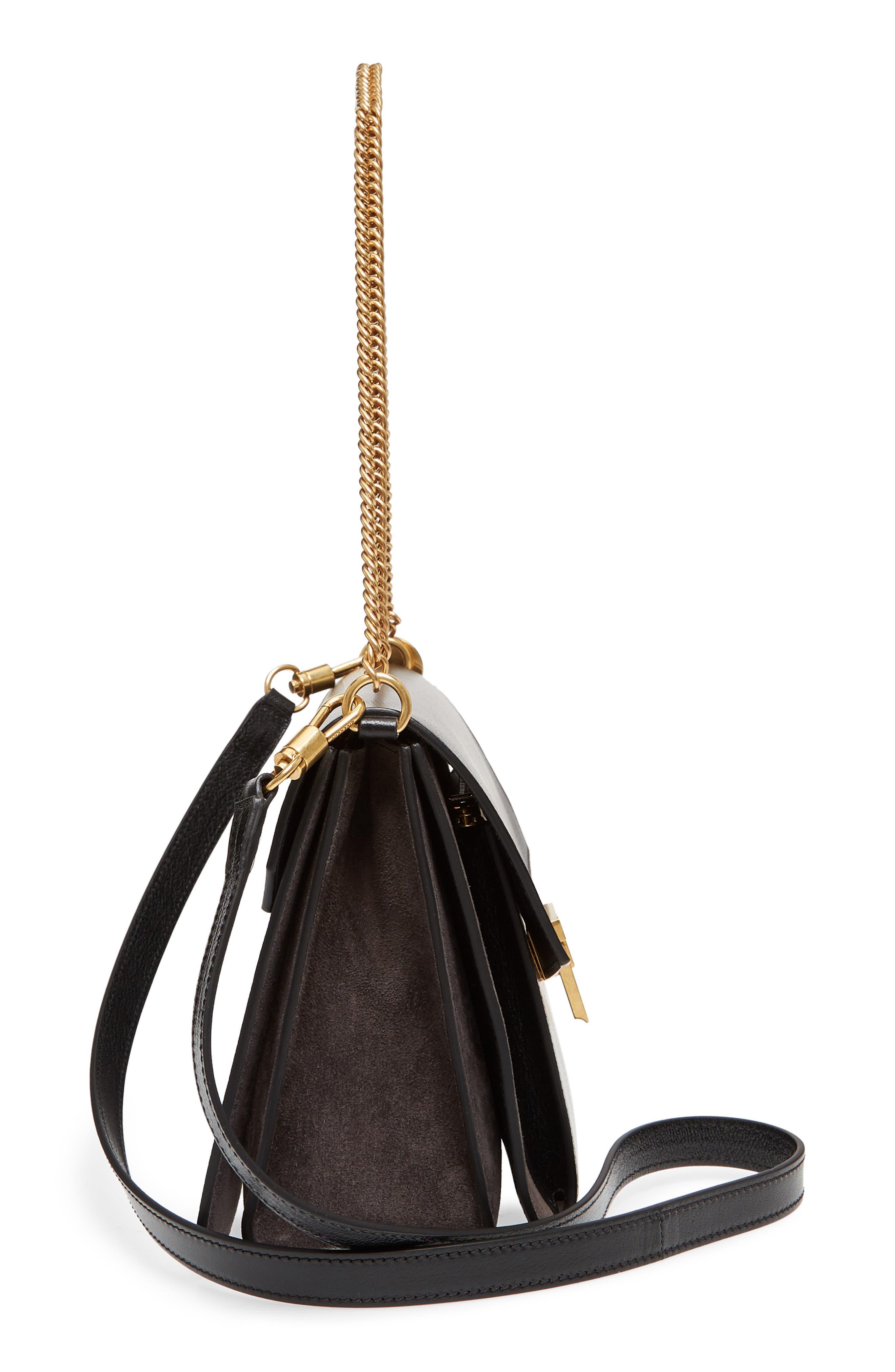 Medium GV3 Leather Crossbody Bag,                             Alternate thumbnail 5, color,                             BLACK/ GREY