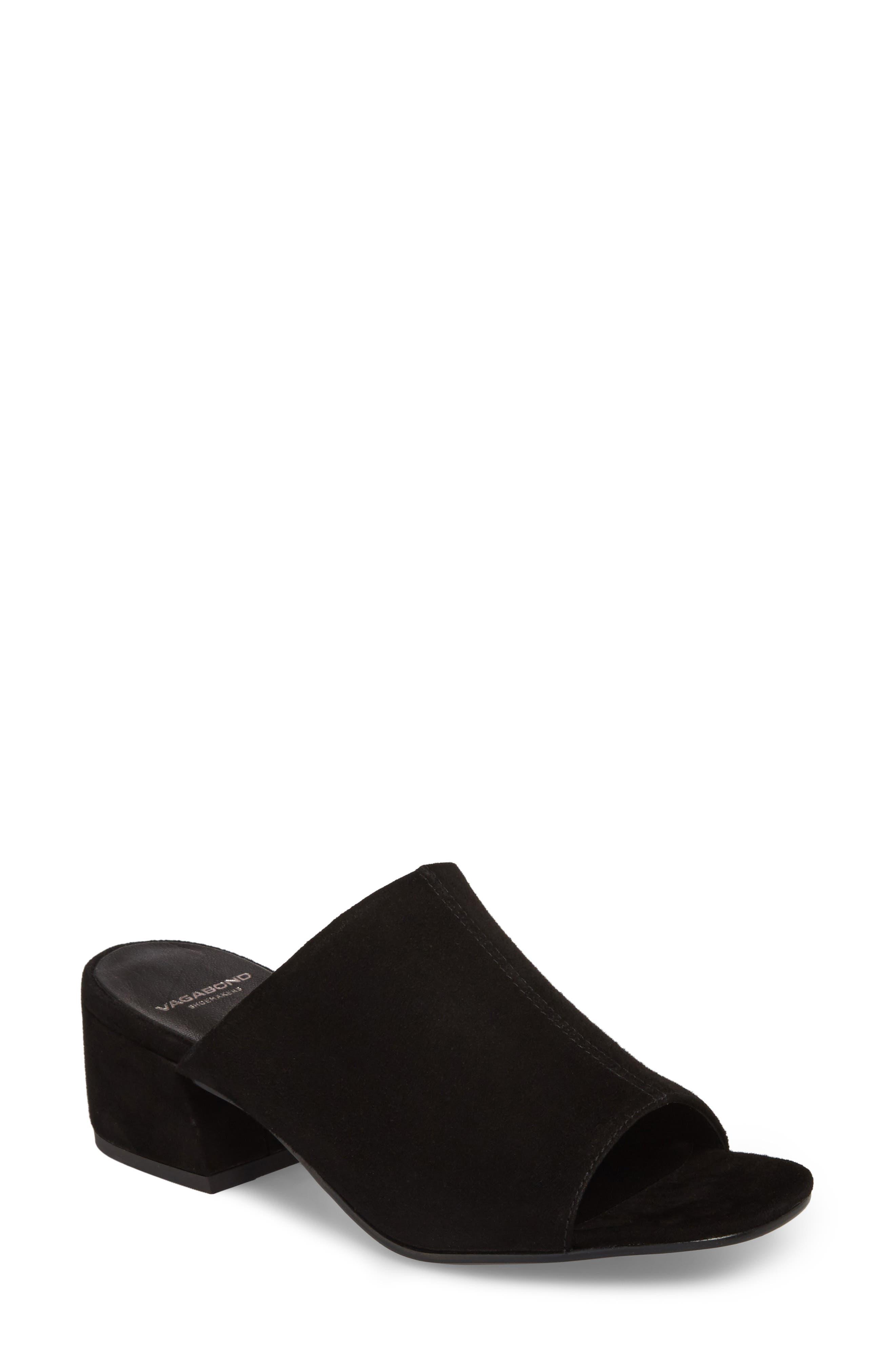 Saide Slide Sandal,                         Main,                         color, BLACK SUEDE