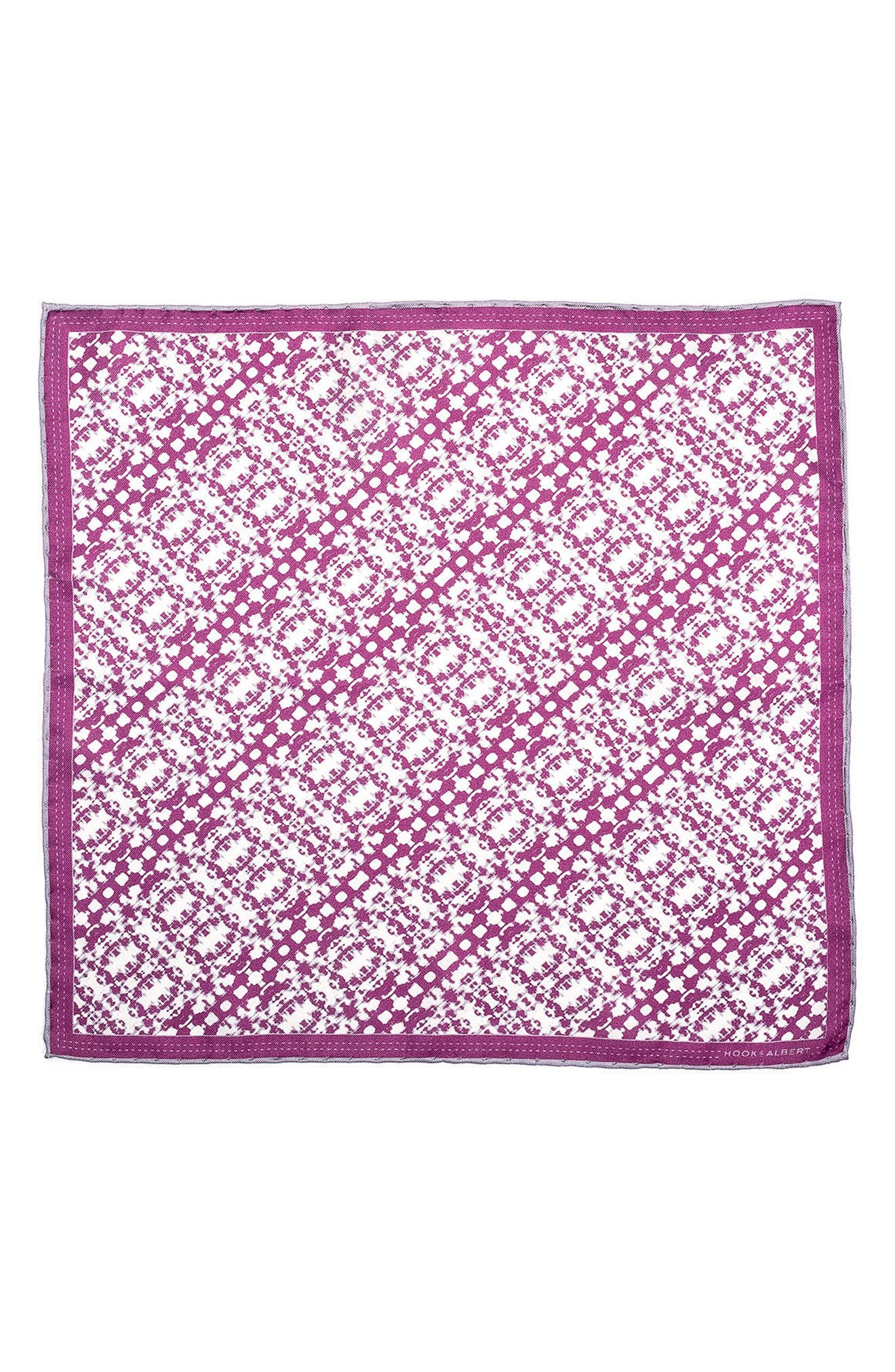 Batik Patterned Silk Pocket Square,                             Alternate thumbnail 8, color,
