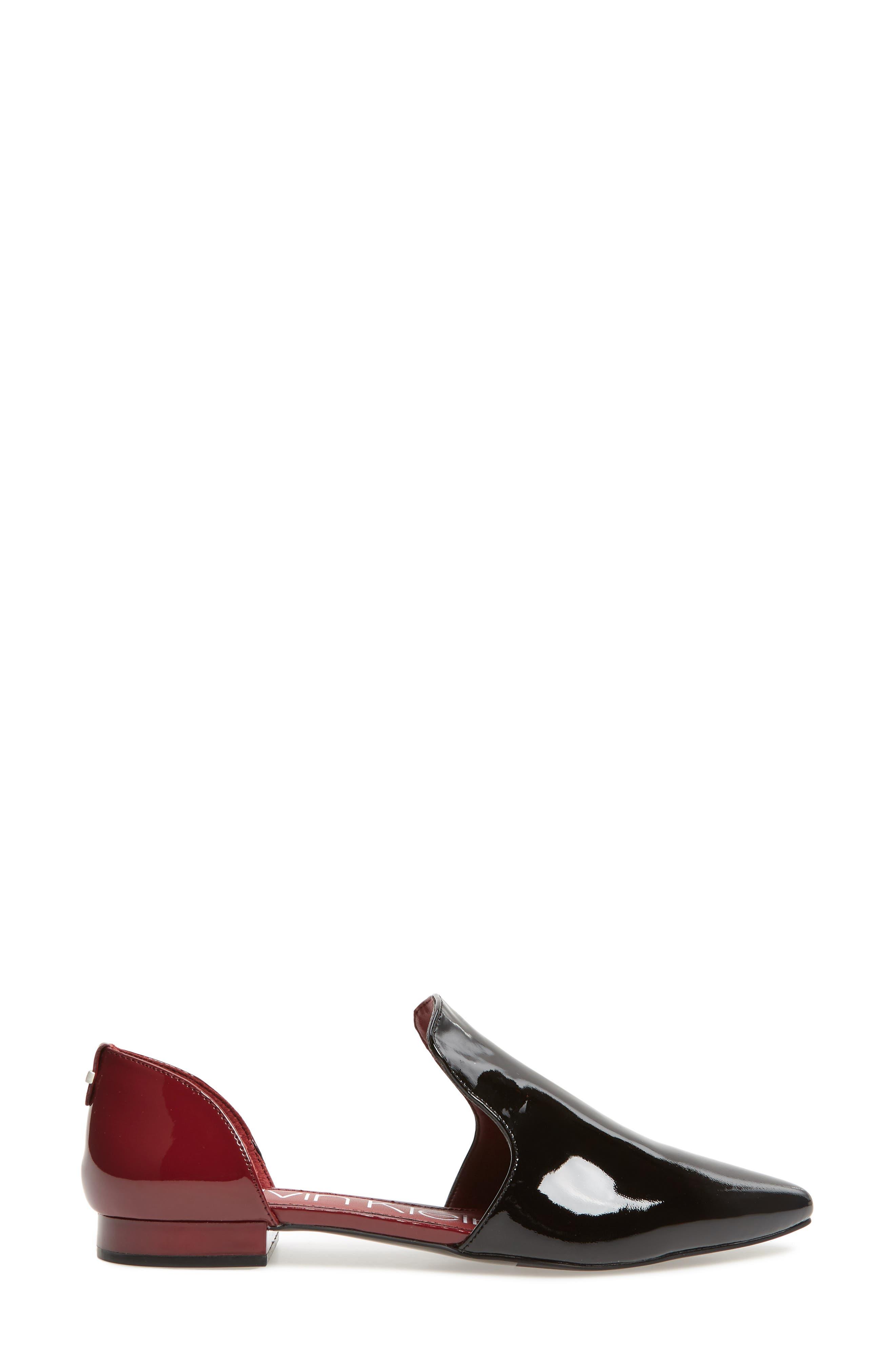 Edona Loafer Flat,                             Alternate thumbnail 3, color,                             BLACK/ RED ROCK PATENT