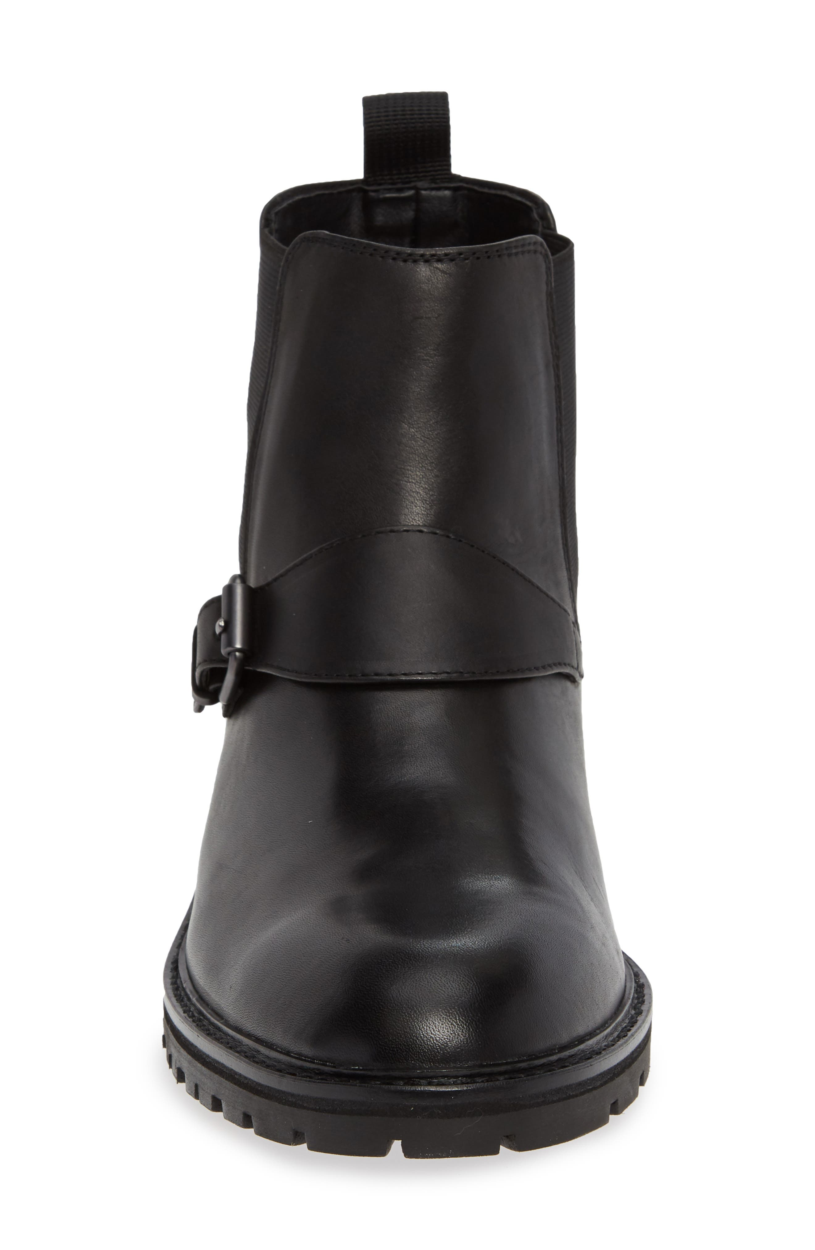 Upton Chelsea Buckle Boot,                             Alternate thumbnail 4, color,                             BLACK LEATHER