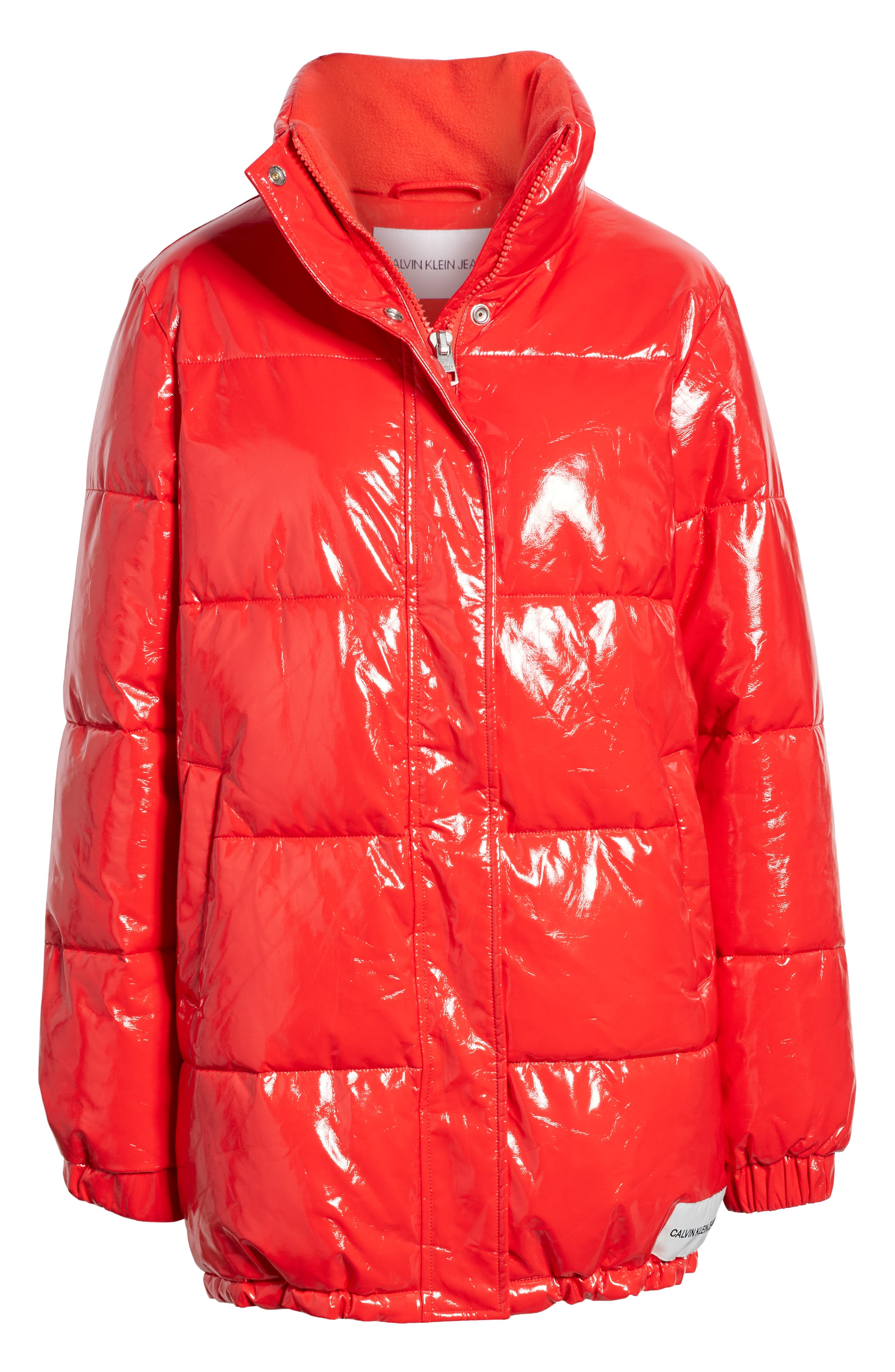 Glossy Puffer Jacket,                             Alternate thumbnail 6, color,                             TOMATO
