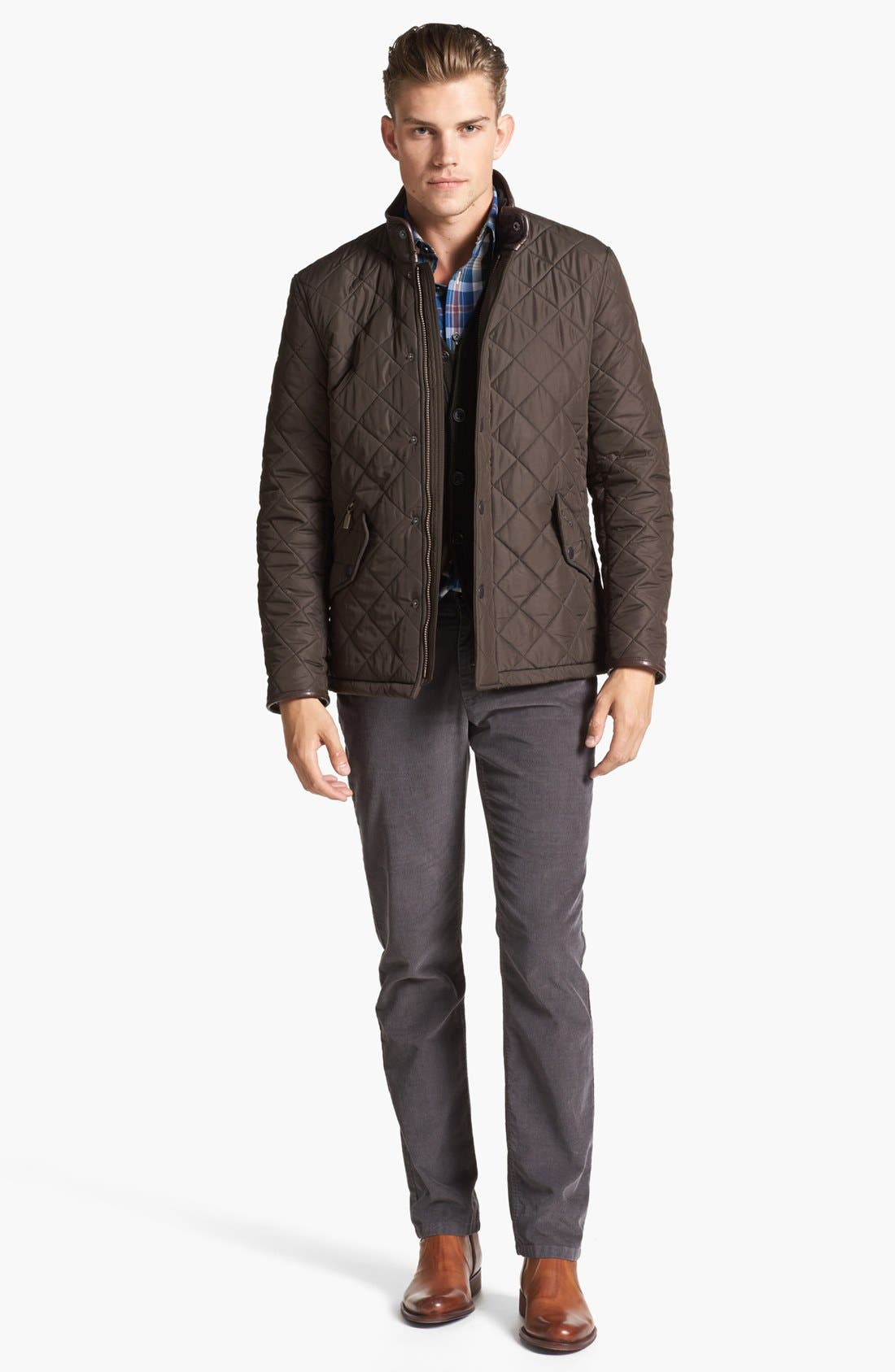 'Powell' Regular Fit Quilted Jacket,                             Alternate thumbnail 10, color,                             OLIVE
