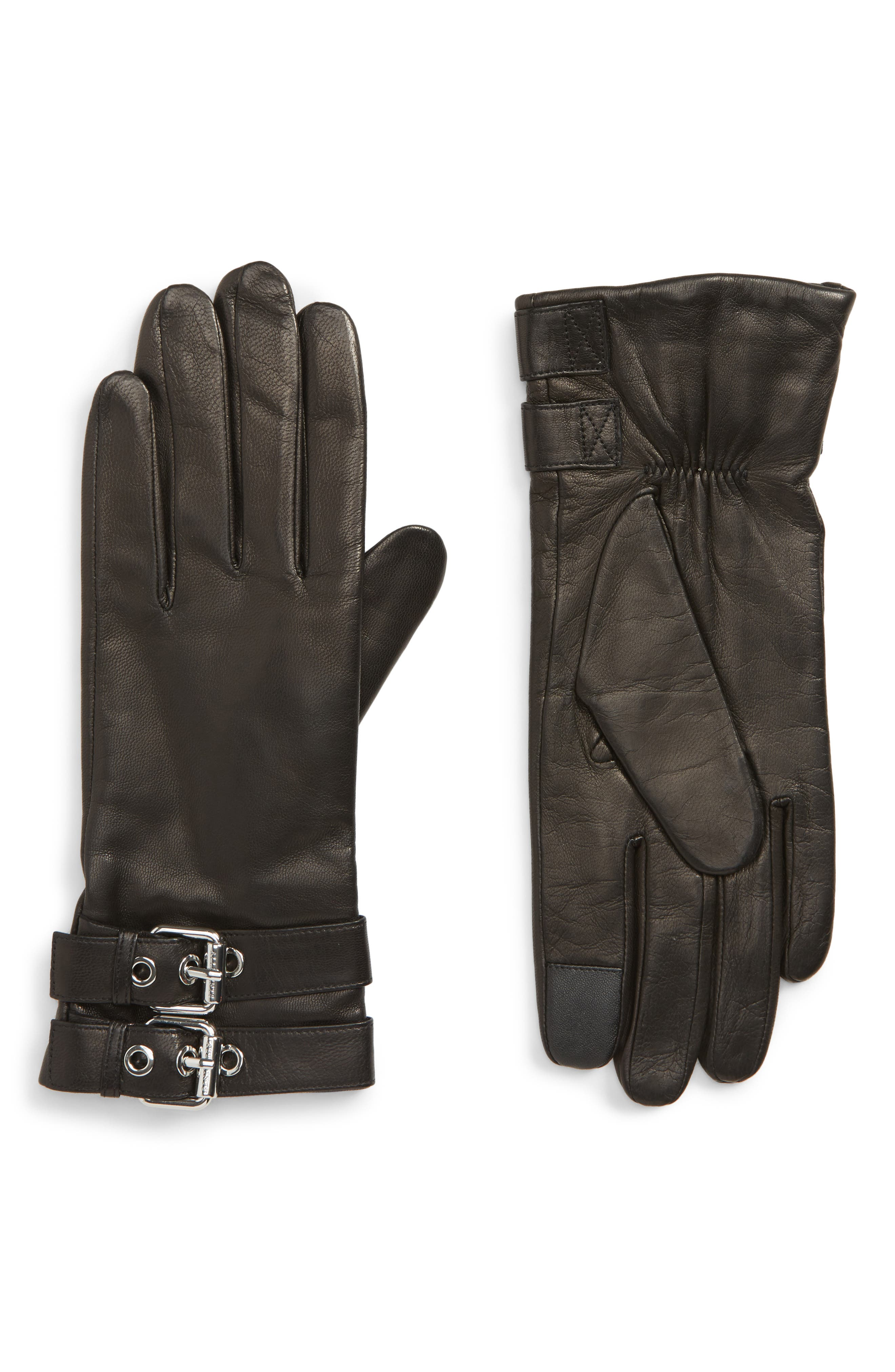 Buckled Leather Gloves,                         Main,                         color, BLACK/ SHINY NICKEL