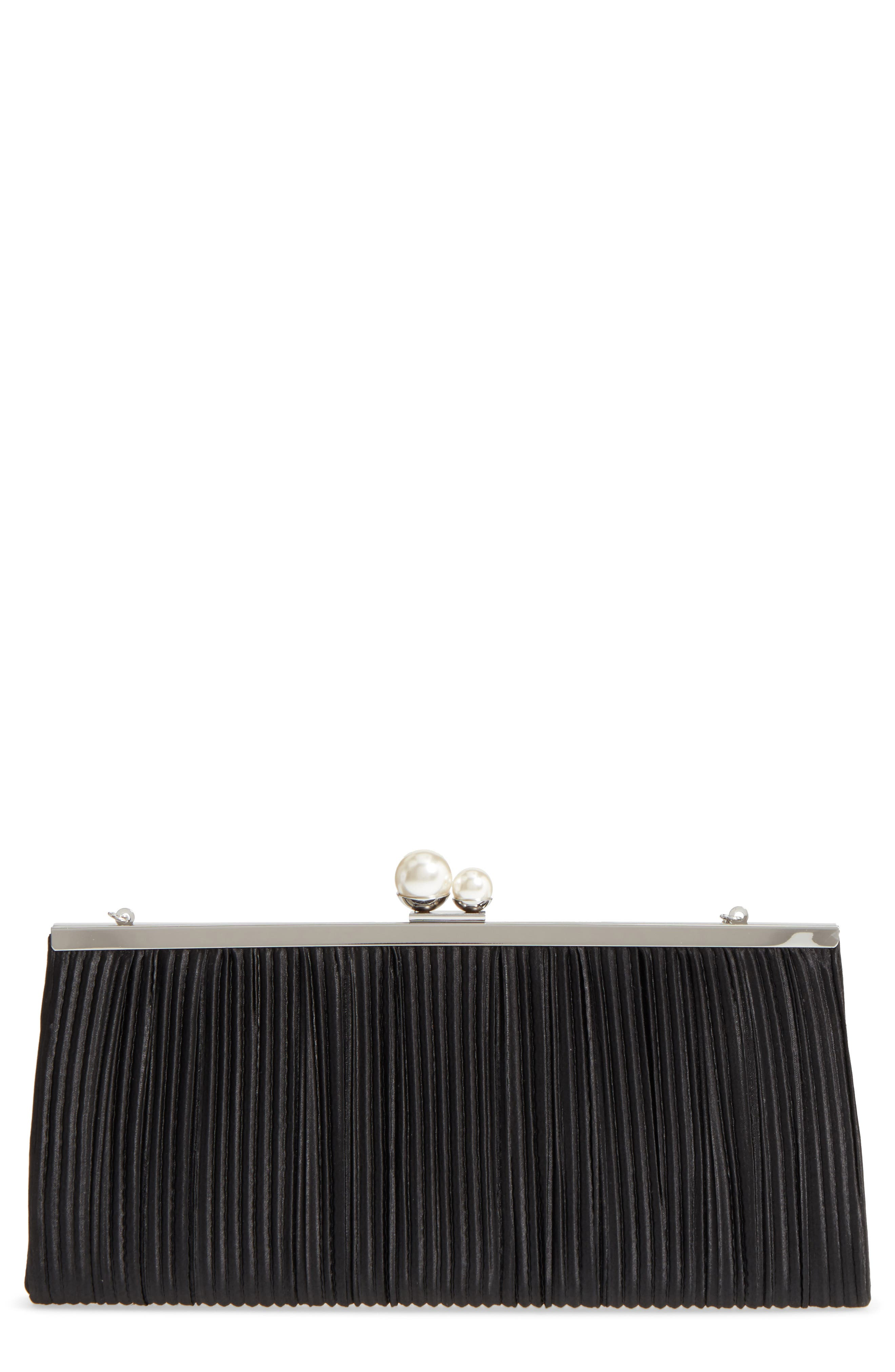 Anella Pleated Satin Frame Clutch,                             Main thumbnail 1, color,                             001