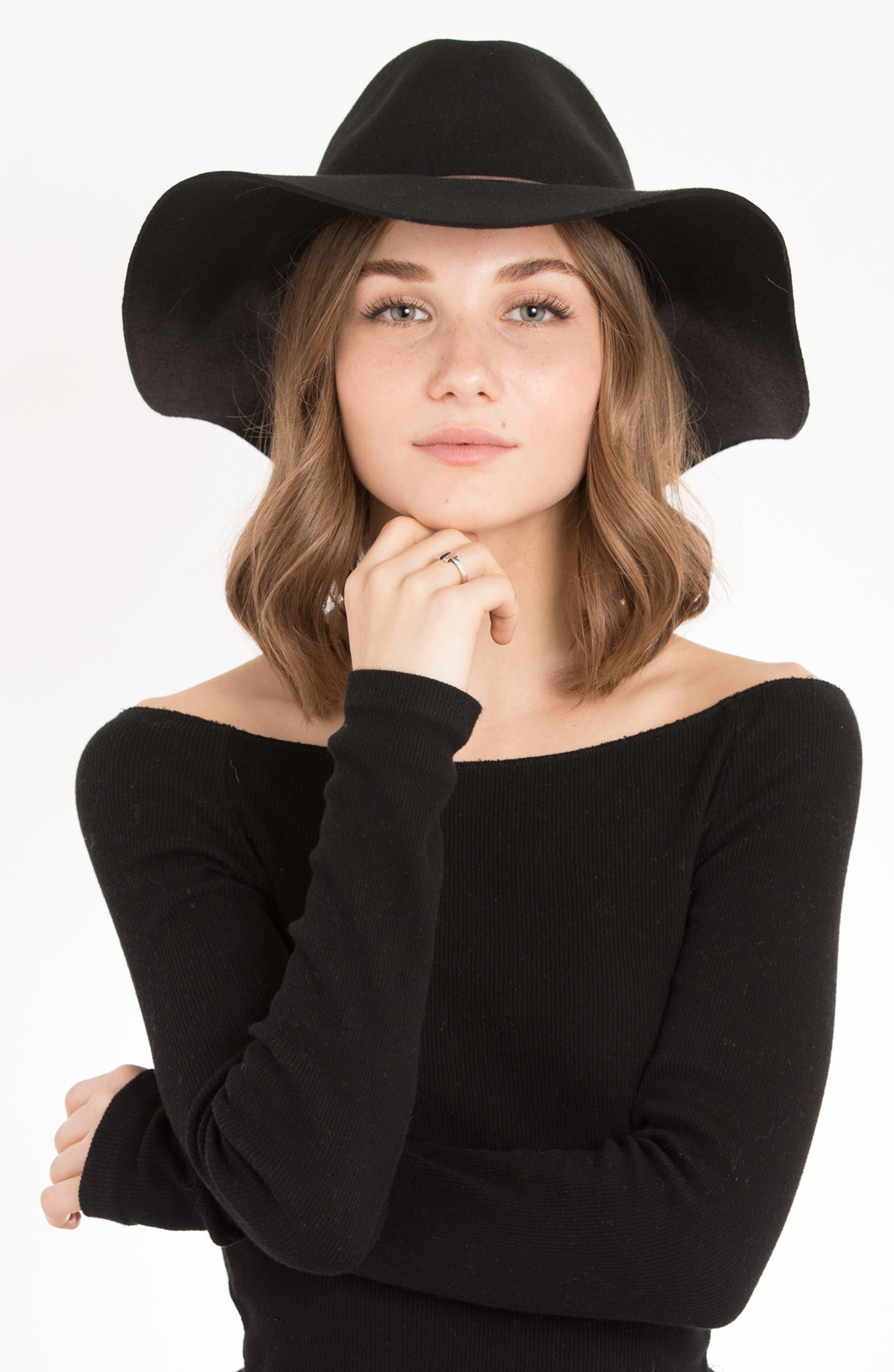 Zima Felted Wool Hat,                             Alternate thumbnail 2, color,                             BLACK
