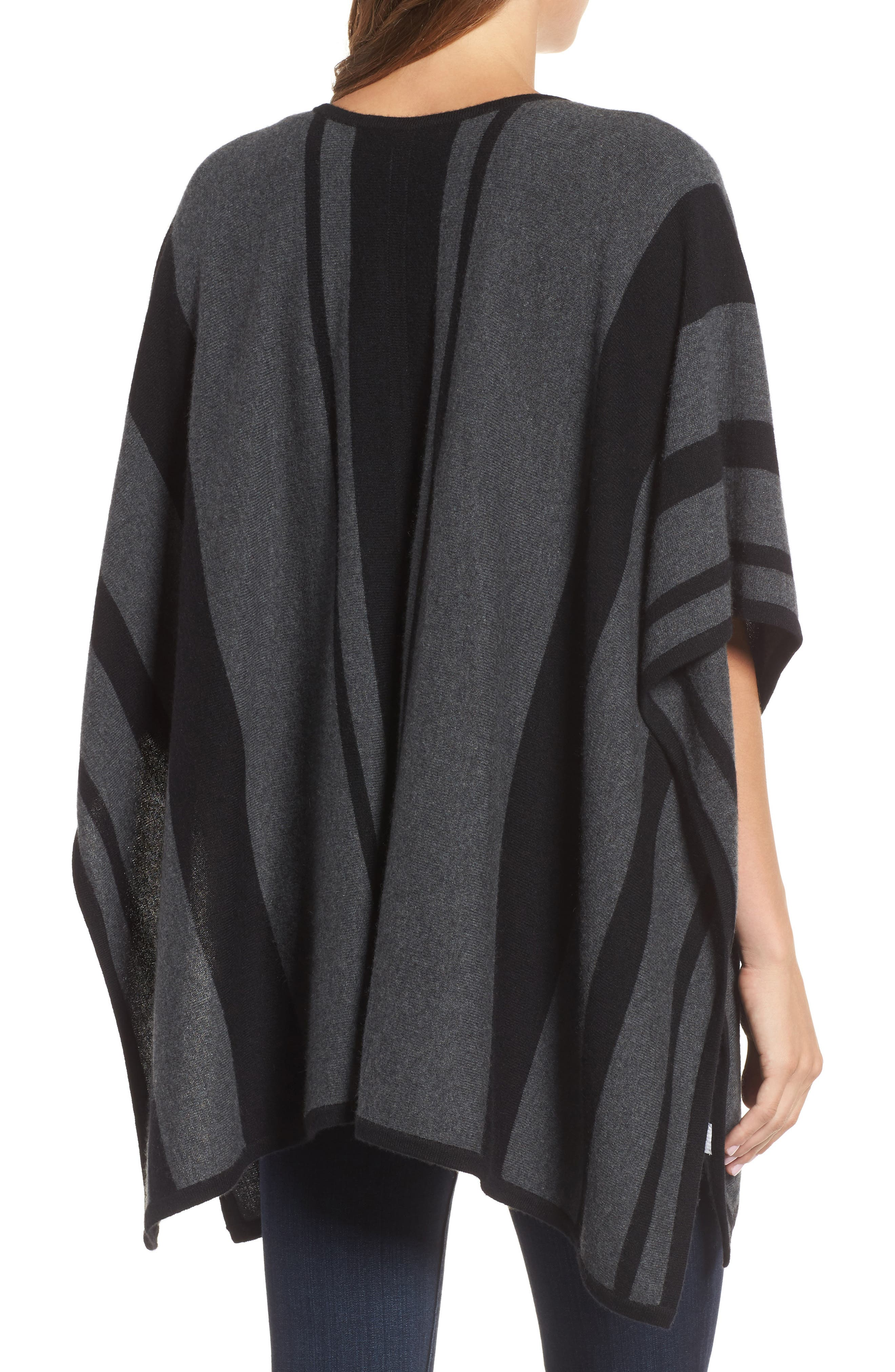 Island Stripe Cashmere Poncho,                             Alternate thumbnail 2, color,                             050
