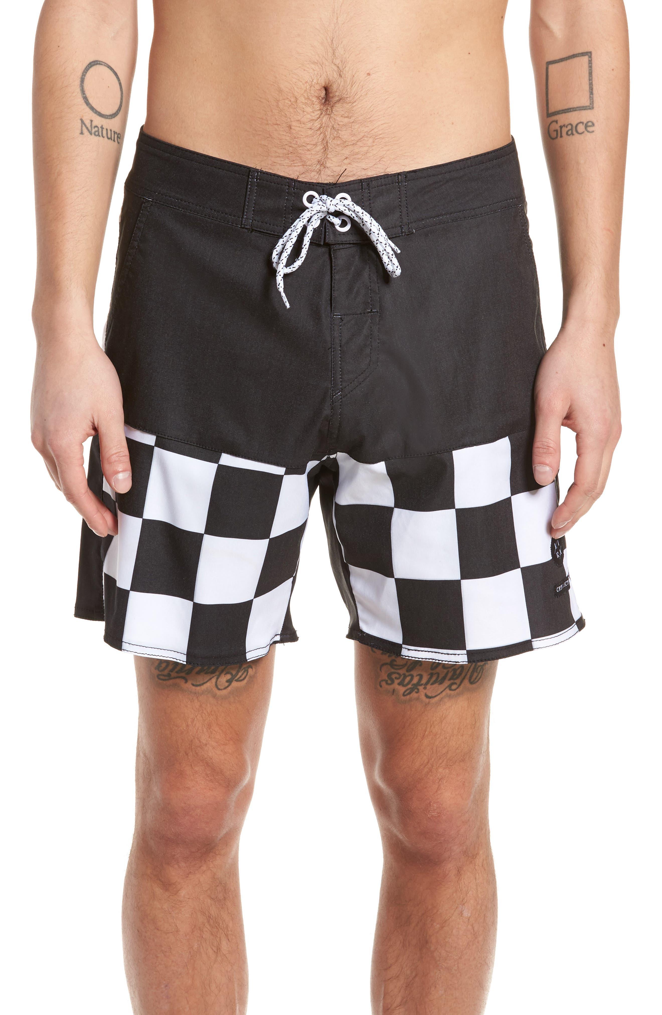 Checkered Board Shorts,                             Main thumbnail 1, color,                             001