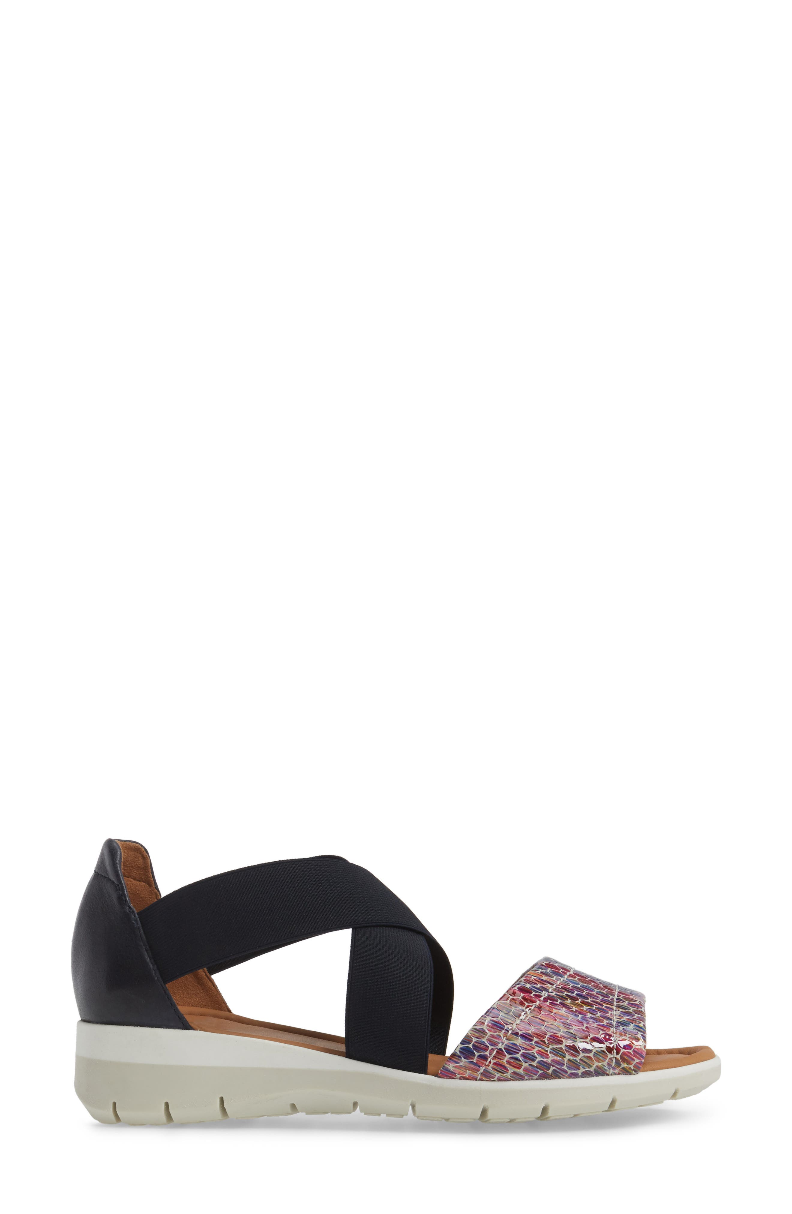 Larissa Cross Strap Wedge Sandal,                             Alternate thumbnail 3, color,                             BLACK MULTI LEATHER