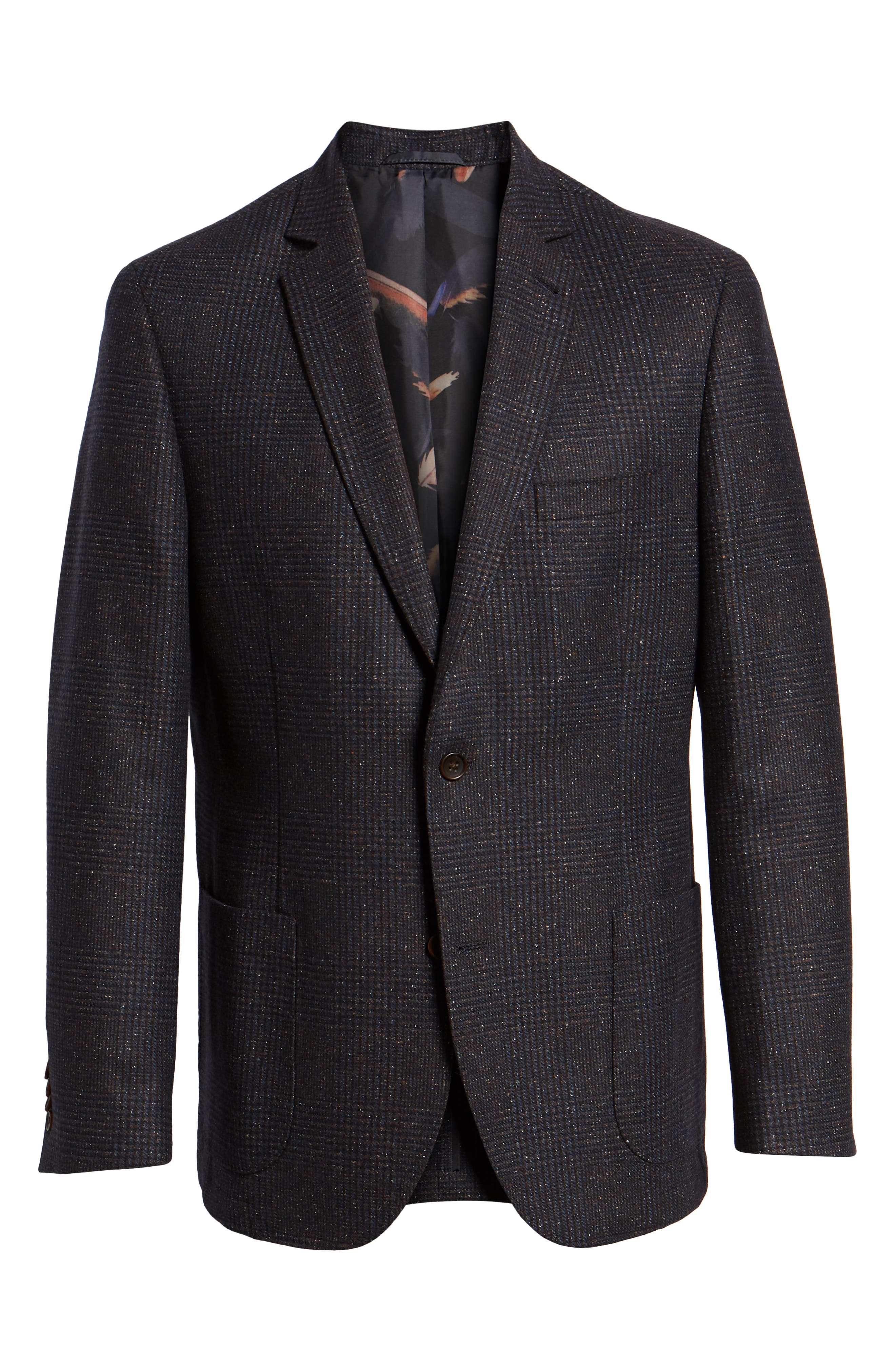 Regular Fit Wool & Silk Blend Blazer,                             Alternate thumbnail 5, color,                             BROWN
