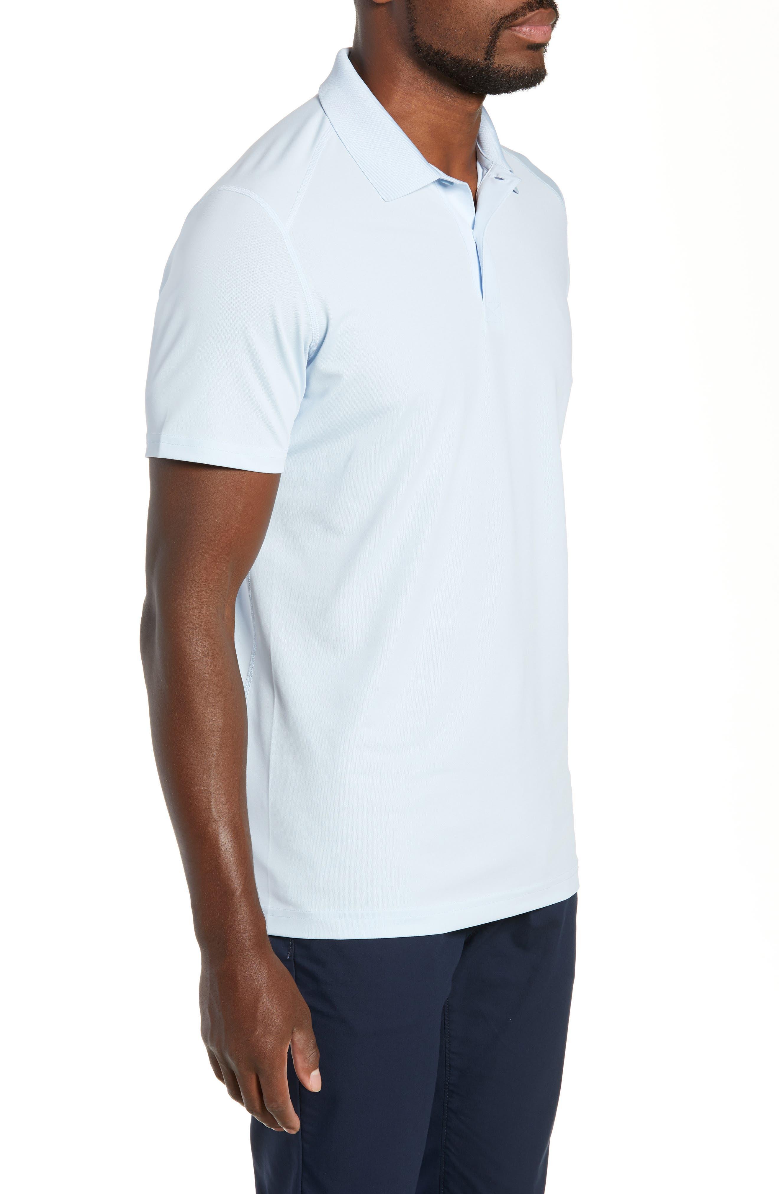 M-Flex Flatiron Slim Fit Golf Polo,                             Alternate thumbnail 3, color,                             SKY BLUE