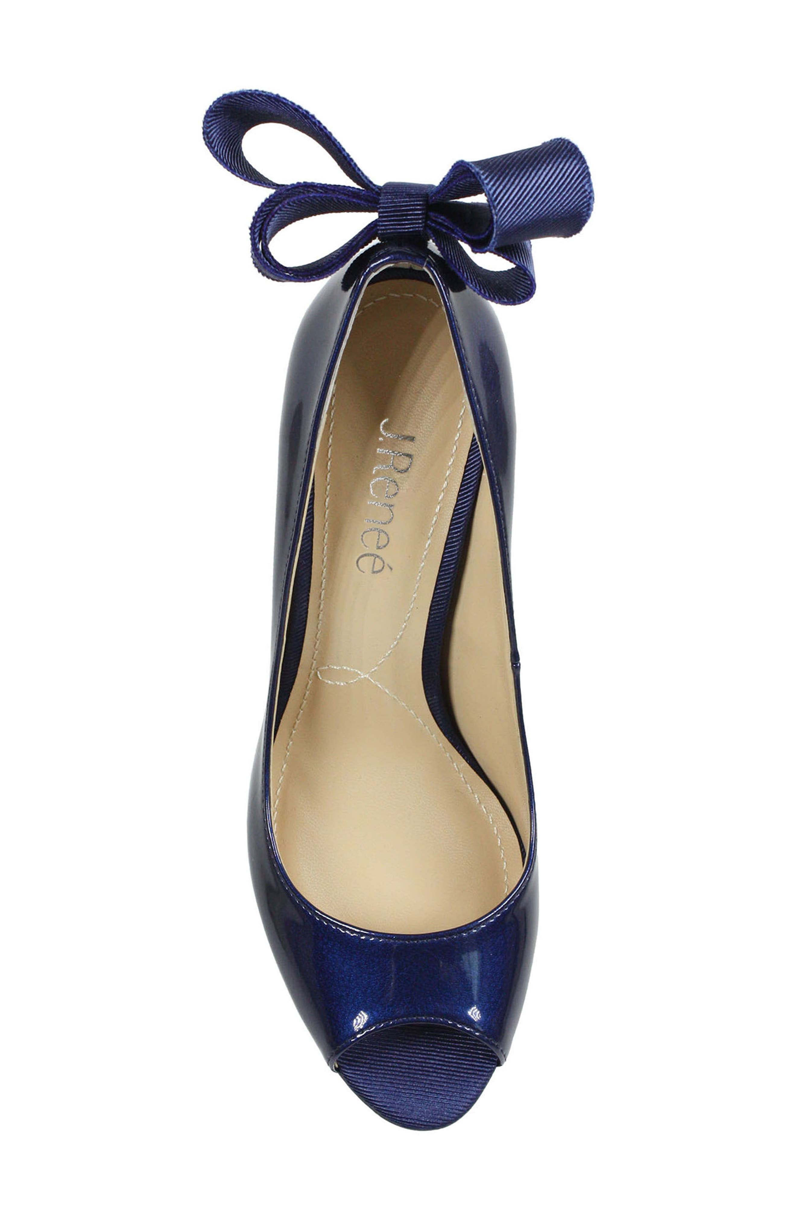 Ellasee Bow Peep Toe Pump,                             Alternate thumbnail 5, color,                             NAVY FAUX LEATHER