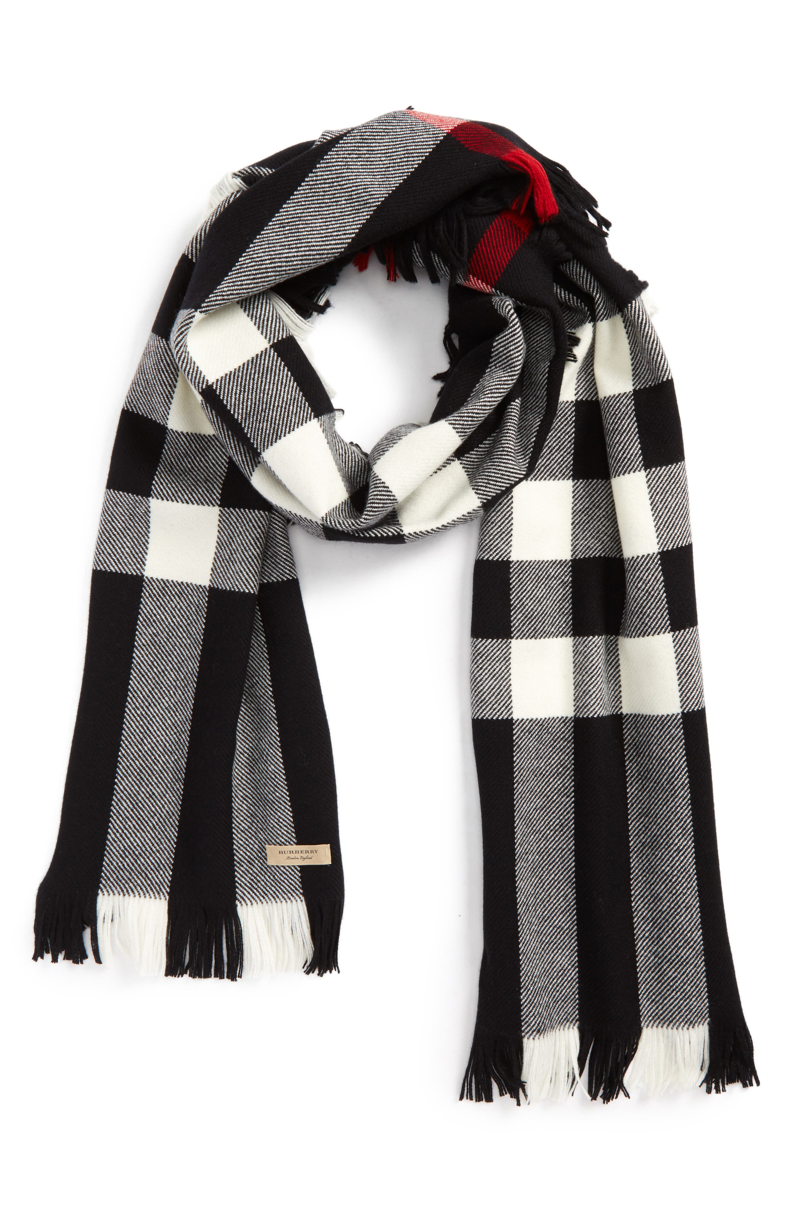 Half Mega Fashion Wool Fringe Scarf,                             Alternate thumbnail 3, color,                             BLACK