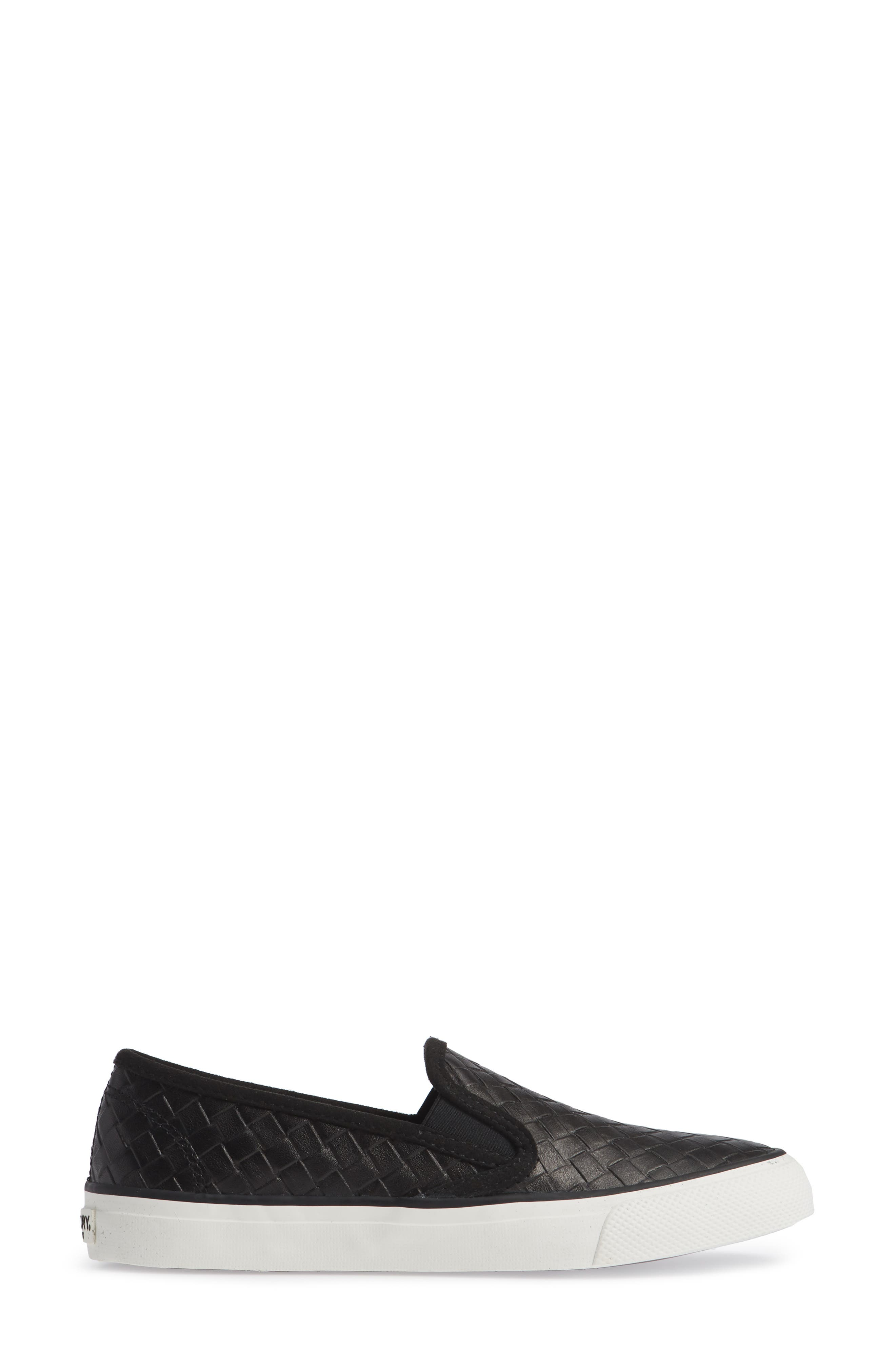 Seaside Embossed Weave Slip-On Sneaker,                             Alternate thumbnail 3, color,                             001