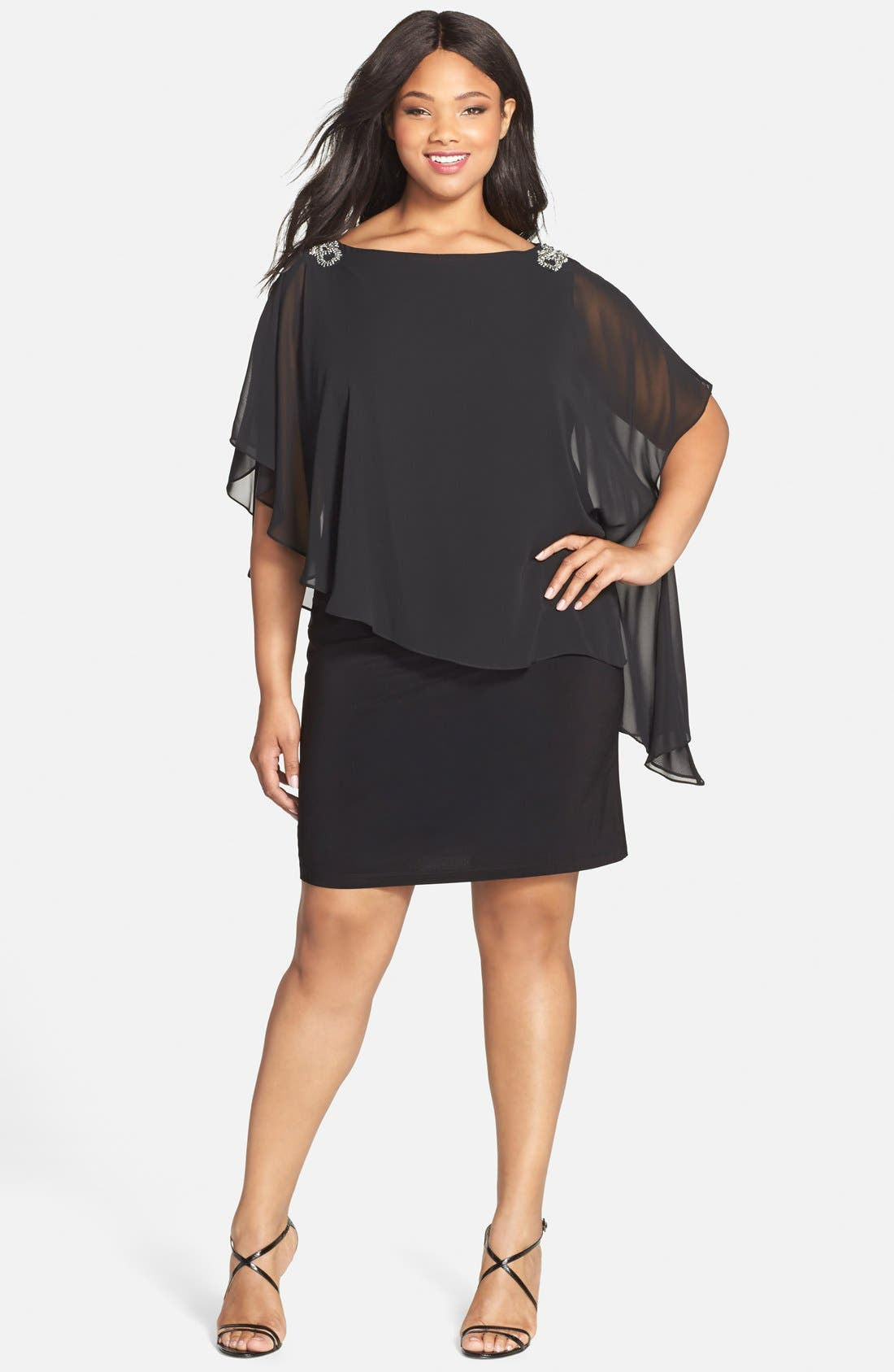 Embellished Chiffon Overlay Jersey Dress,                             Alternate thumbnail 13, color,