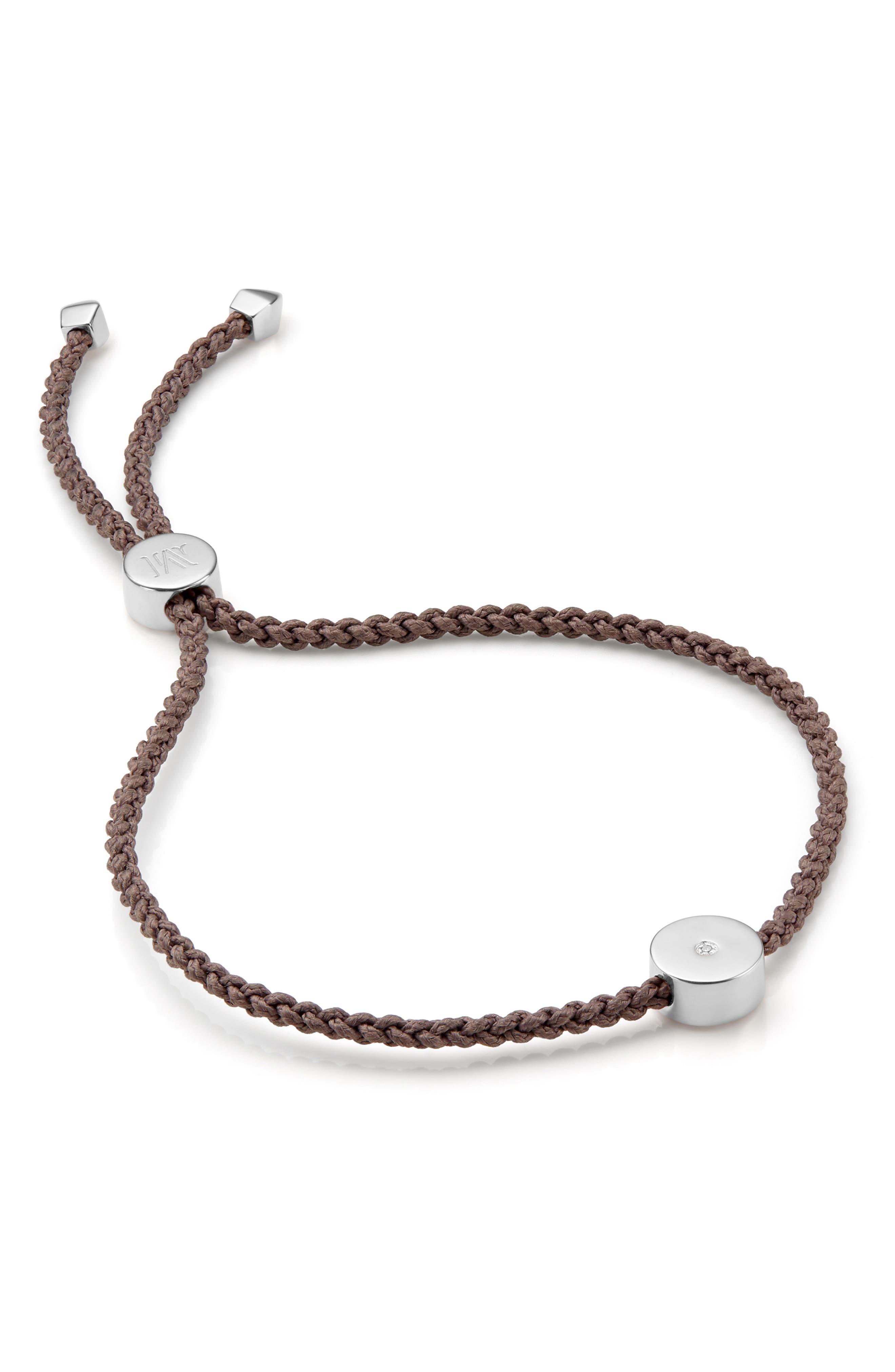 MONICA VINADER,                             Linear Solo Diamond Friendship Bracelet,                             Main thumbnail 1, color,                             SILVER/ MINK